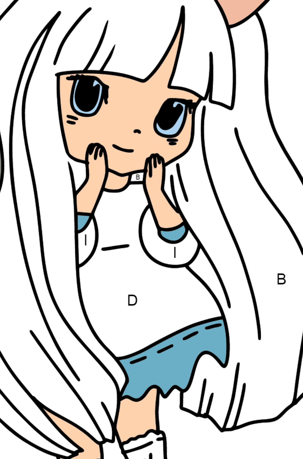 Anime Bunny Girl Coloring Pages - Coloring by Letters for Kids