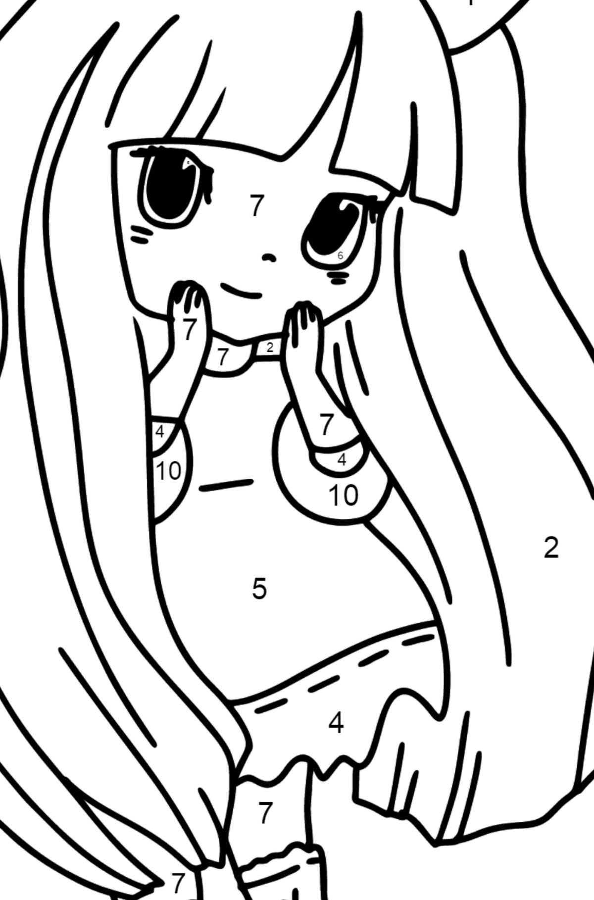 Coloriage Anime - Fille Lapin - Coloriage par Chiffres pour les Enfants