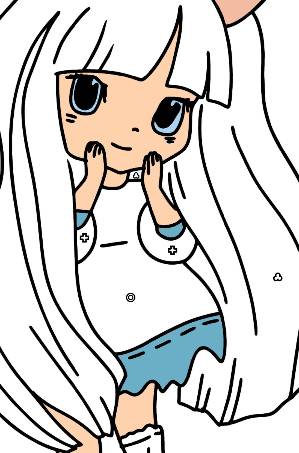 Раскраска Аниме - Девушка Кролик - Раскраска по Геометрическим Фигурам для Детей