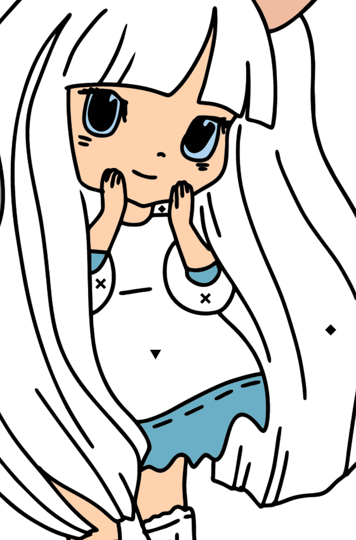 Anime Bunny Girl Coloring Pages - Coloring by Symbols for Kids