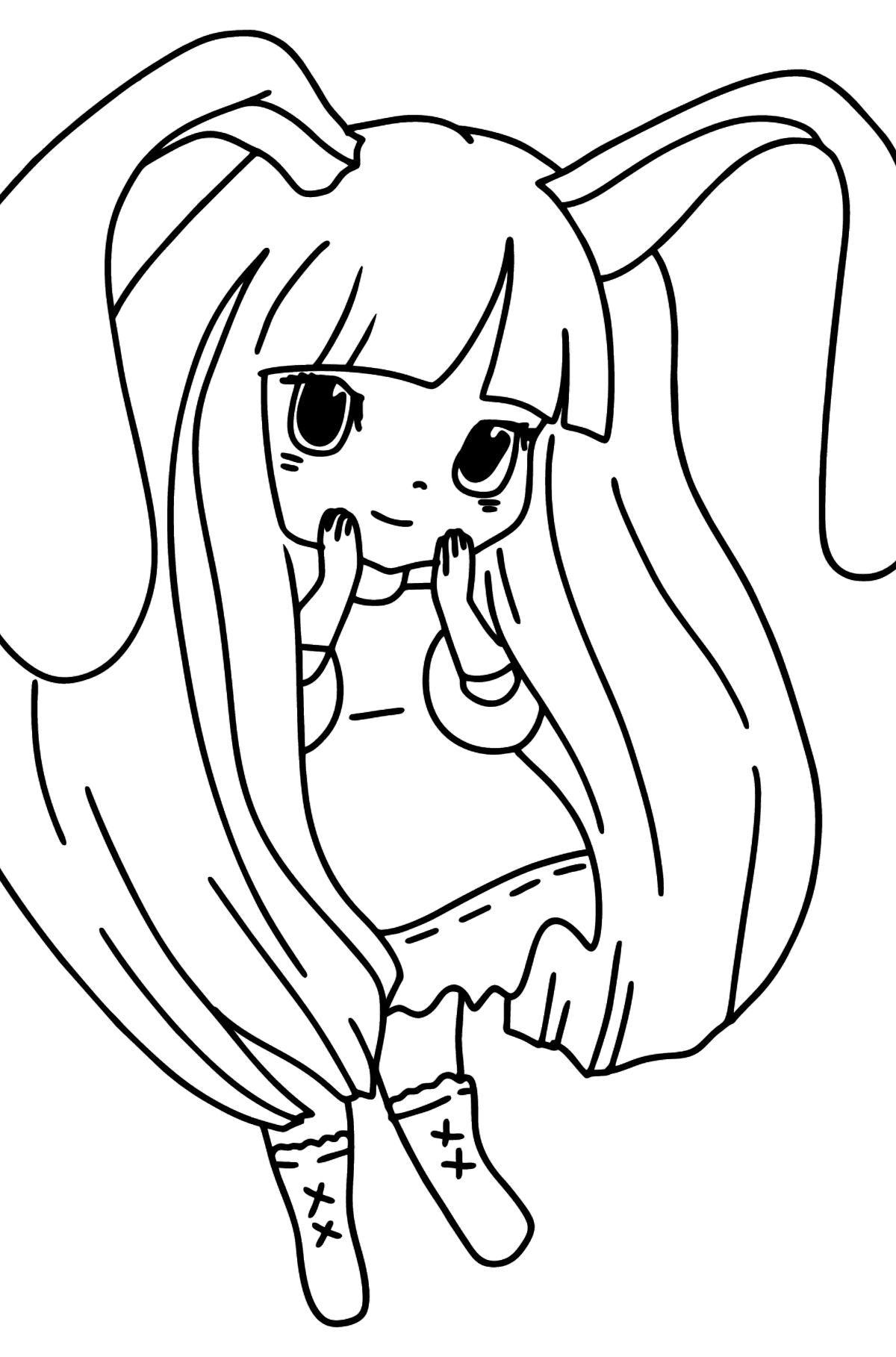 Anime Bunny Girl Coloring Pages - Coloring Pages for Kids