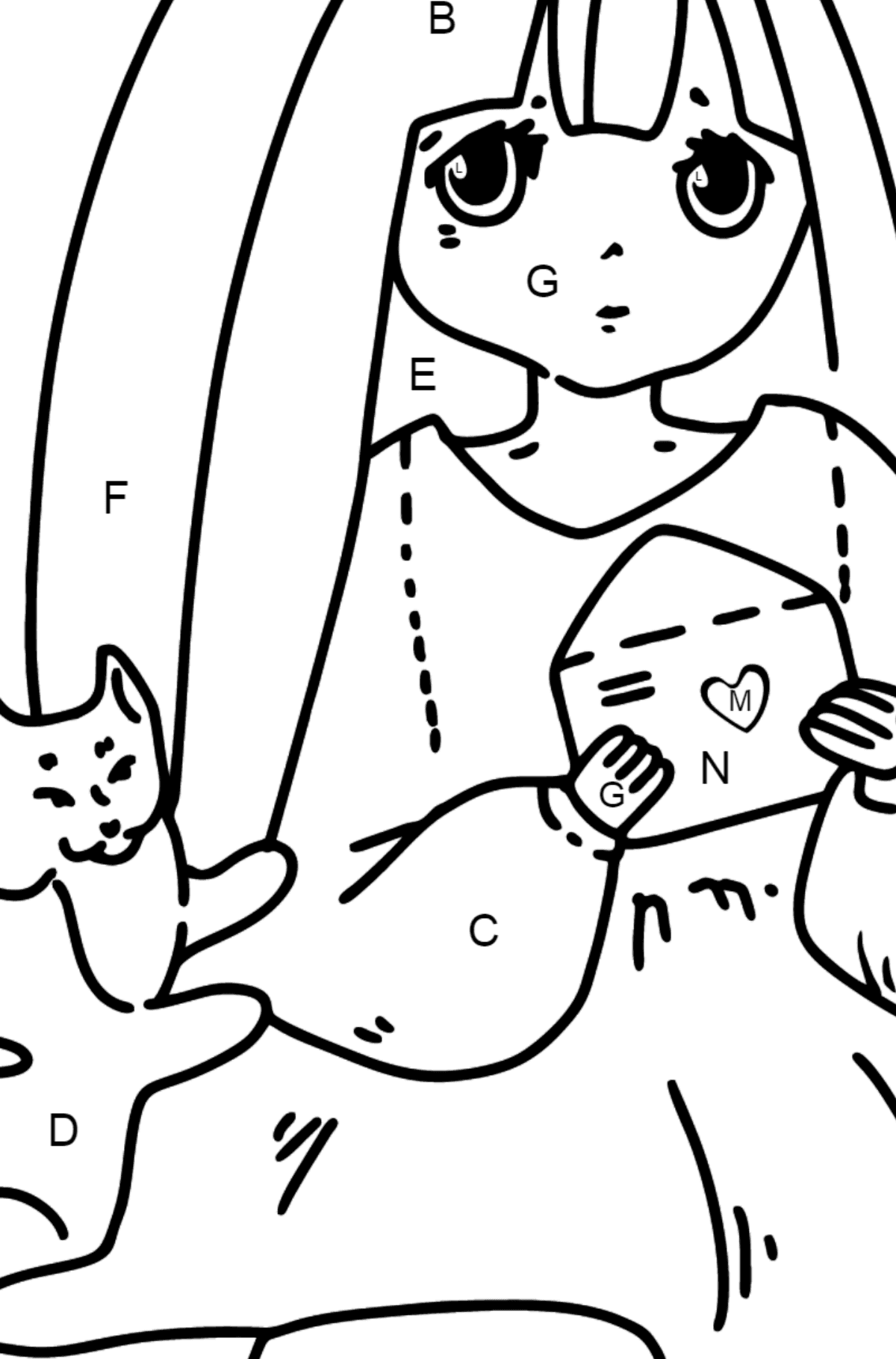 Anime Cute Girl Coloring Pages - Coloring by Letters for Kids