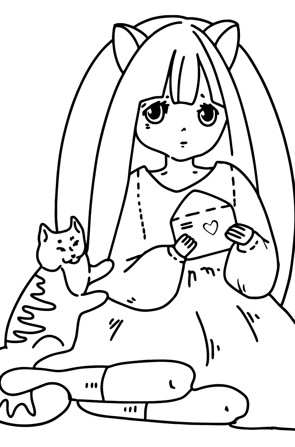 Anime Cute Girl Coloring Pages - Coloring Pages for Kids