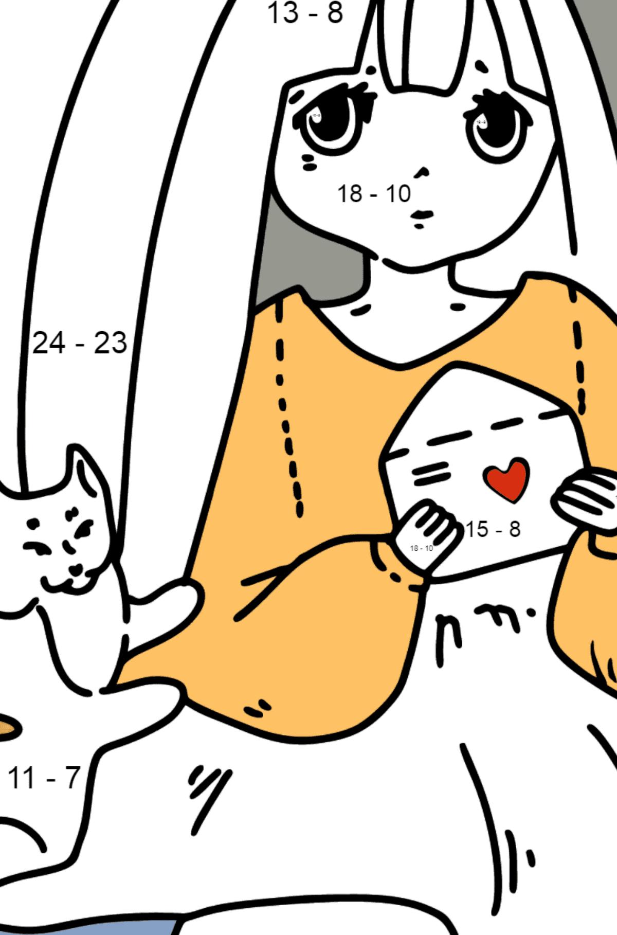 Раскраска Аниме Милая девушка - Математическая Раскраска - Вычитание для Детей