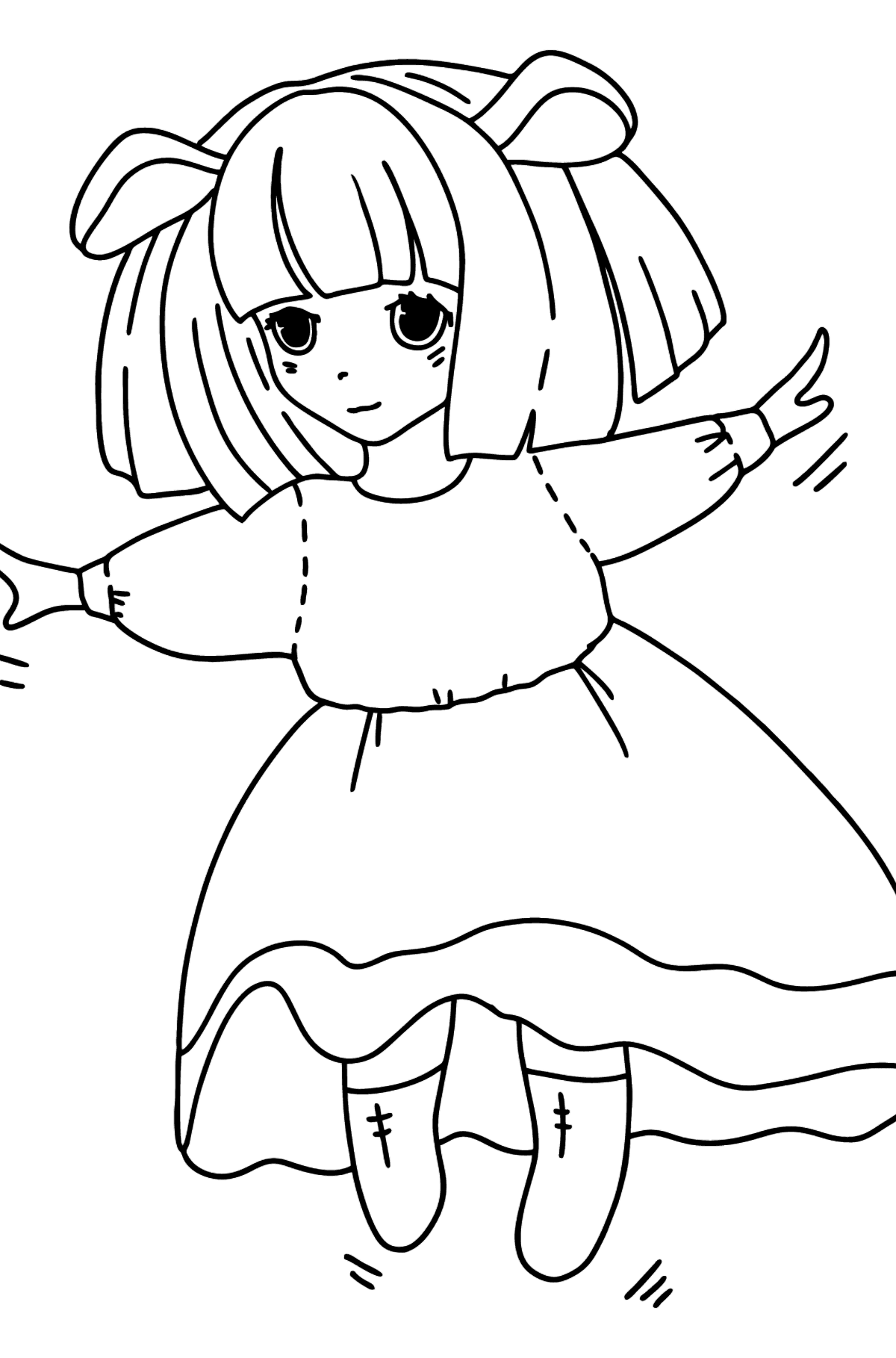 Anime Girl Dancing coloring page - Coloring Pages for Kids