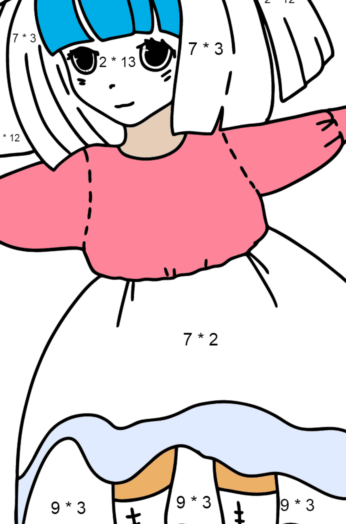 Anime Girl Dancing coloring page - Math Coloring - Multiplication for Kids