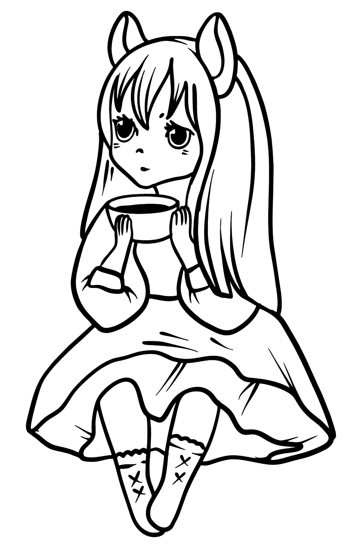 Anime Girl Drinking Coffee coloring page - Coloring Pages for Kids