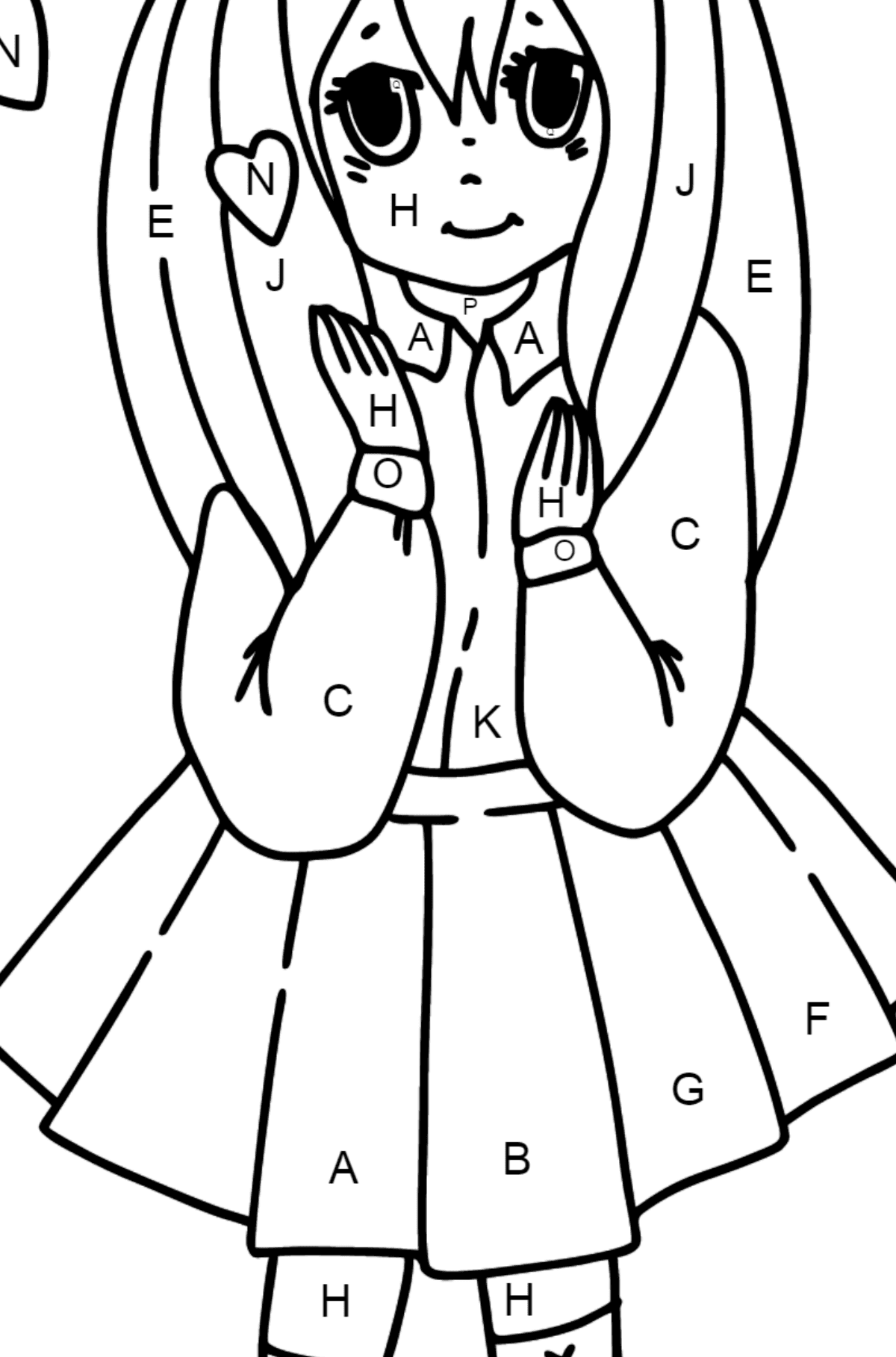 Anime girl in love coloring page - Coloring by Letters for Kids