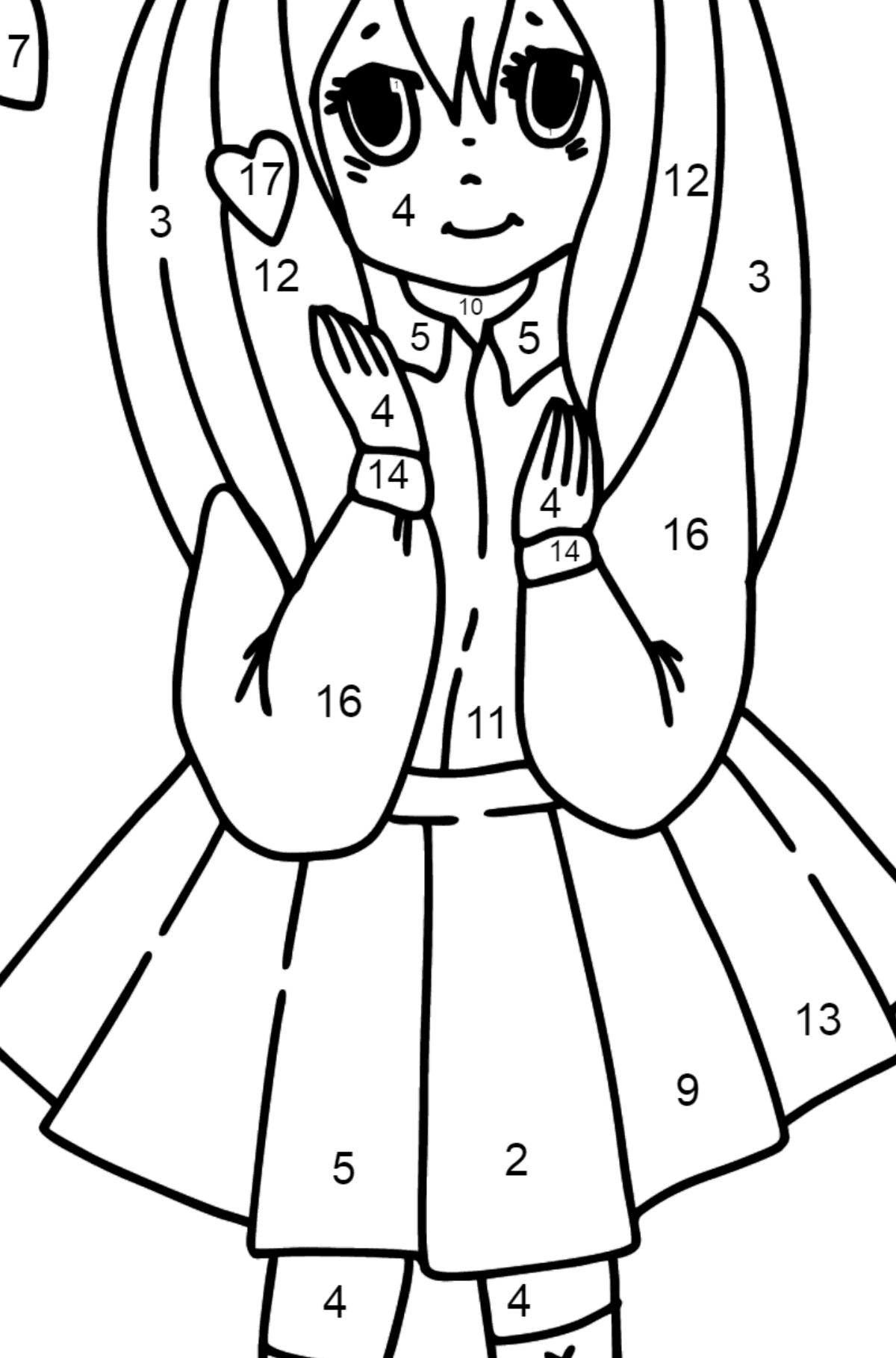 Dibujo de chica anime enamorada para colorear - Colorear por Números para Niños