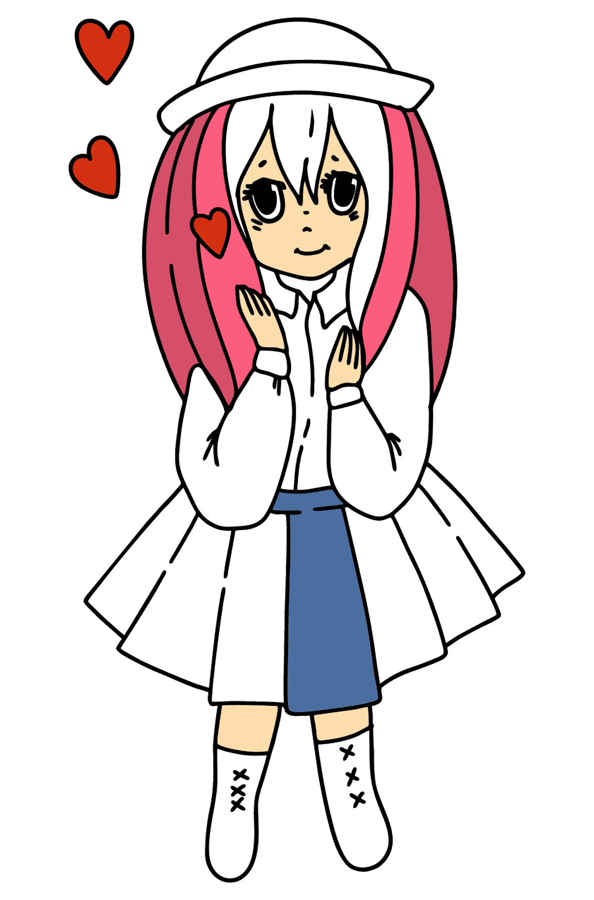 Anime girl in love coloring page - Coloring Pages for Kids