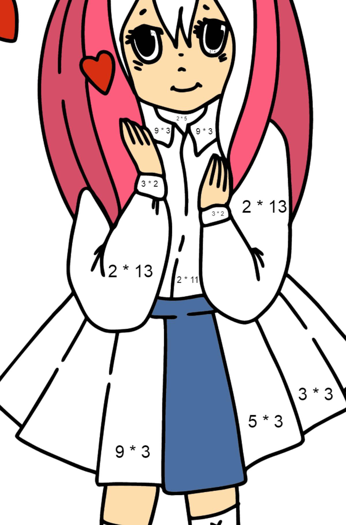 Раскраска Аниме Девушка влюблена - Математическая Раскраска - Умножение для Детей