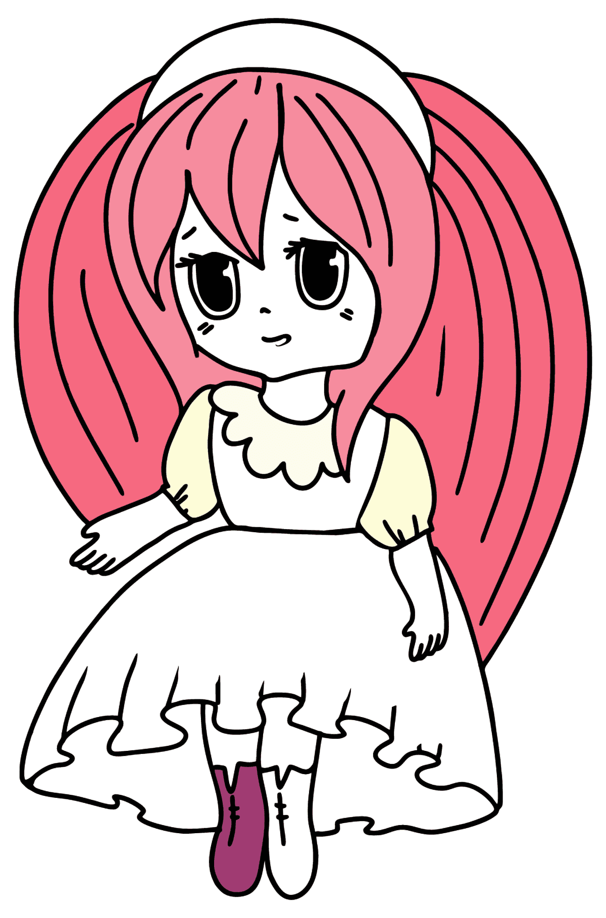 Anime Girl in Pink coloring page - Coloring Pages for Kids