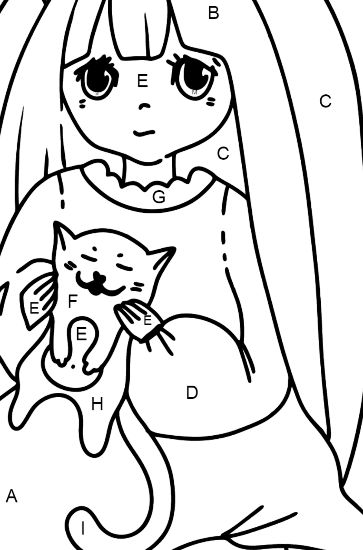 Anime Girl Playing with Kitten coloring page - Coloring by Letters for Kids