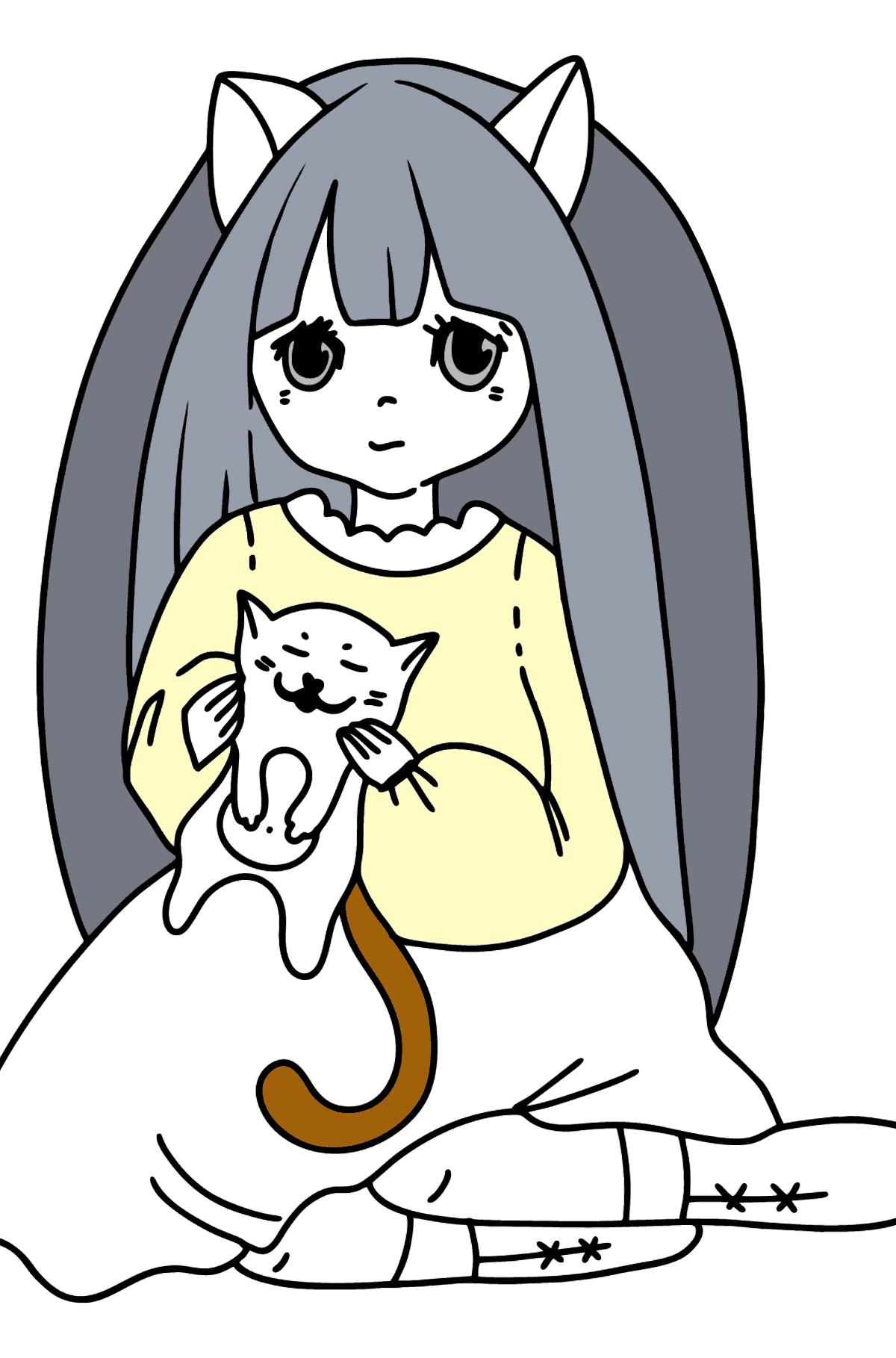 Anime Mädchen spielt mit Kätzchen Ausmalbilder - Malvorlagen für Kinder