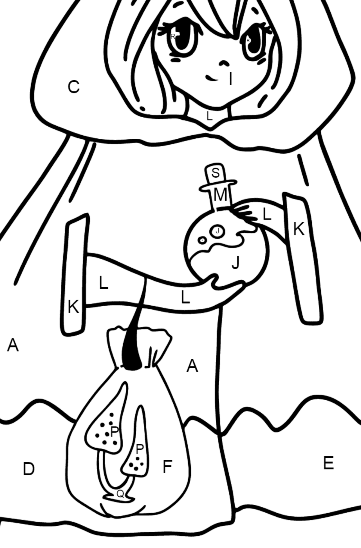Anime Girl Witch Coloring Pages - Coloring by Letters for Kids