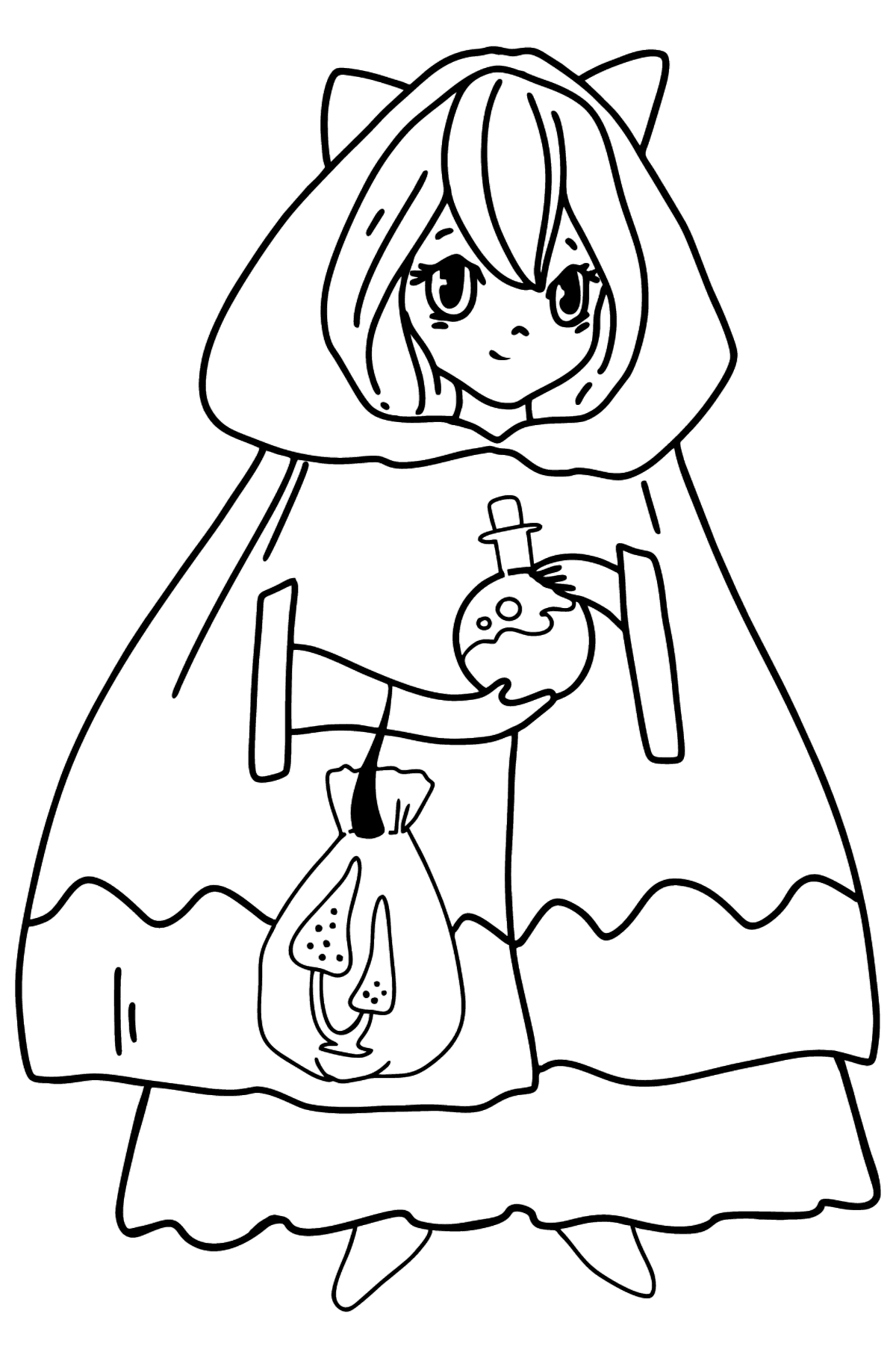 Anime Girl Witch Coloring Pages - Coloring Pages for Kids