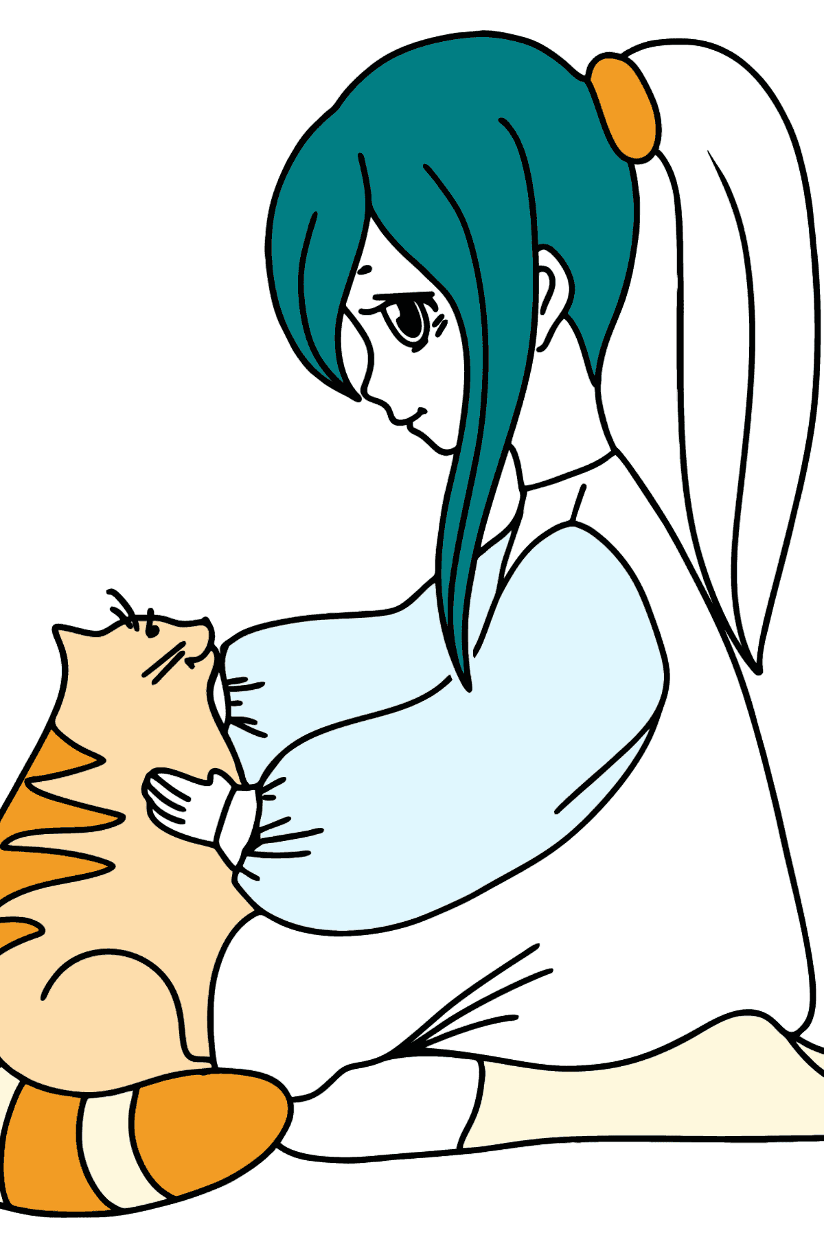 Anime Girl with Cat coloring page - Coloring Pages for Kids