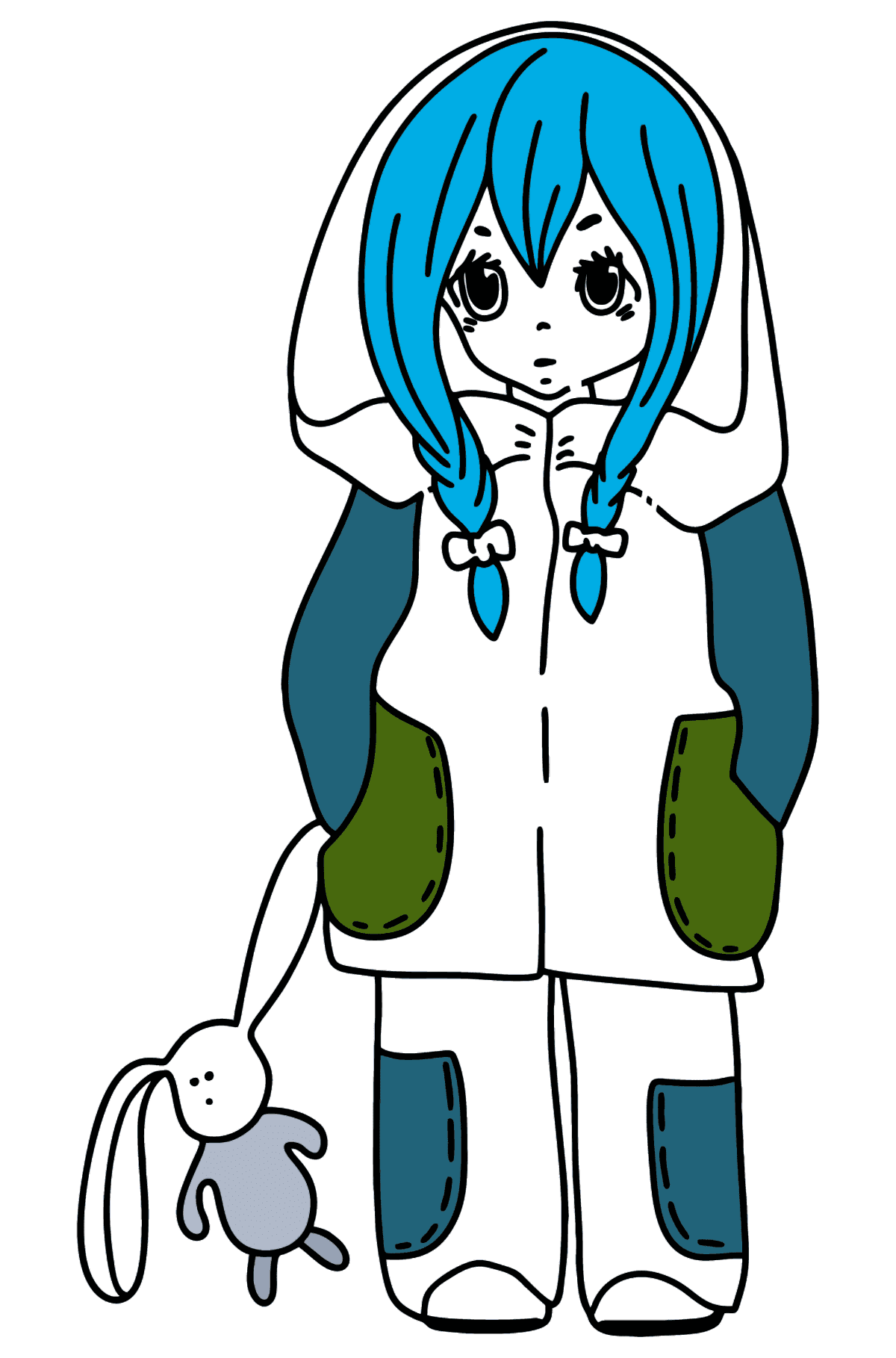 Anime girl with pigtails coloring page - Coloring Pages for Kids