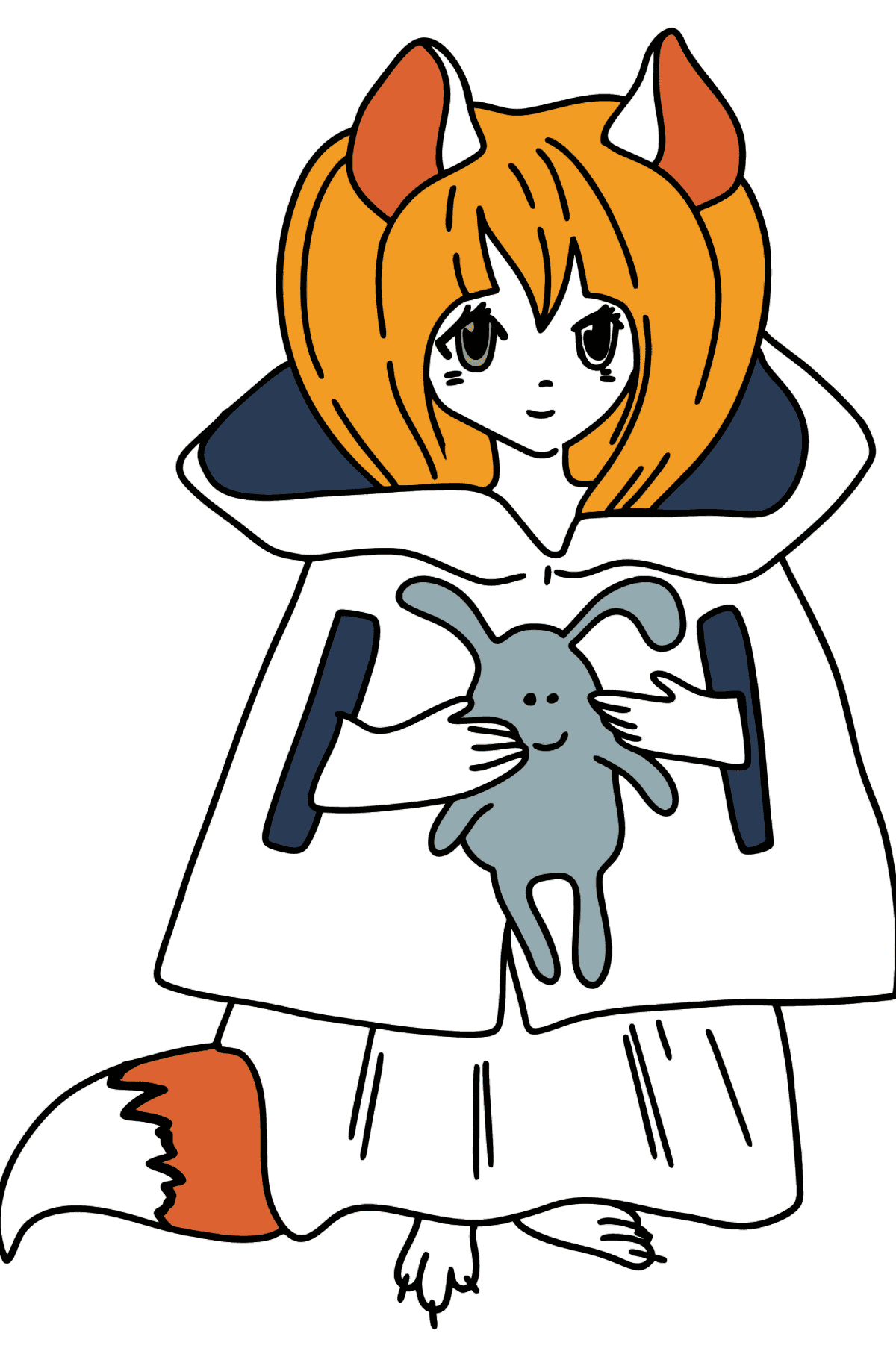 Anime Girl with Tail coloring page - Coloring Pages for Kids