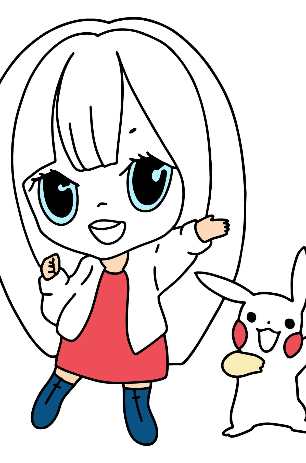 Dibujos para colorear Anime - chica feliz - Dibujos para Colorear para Niños