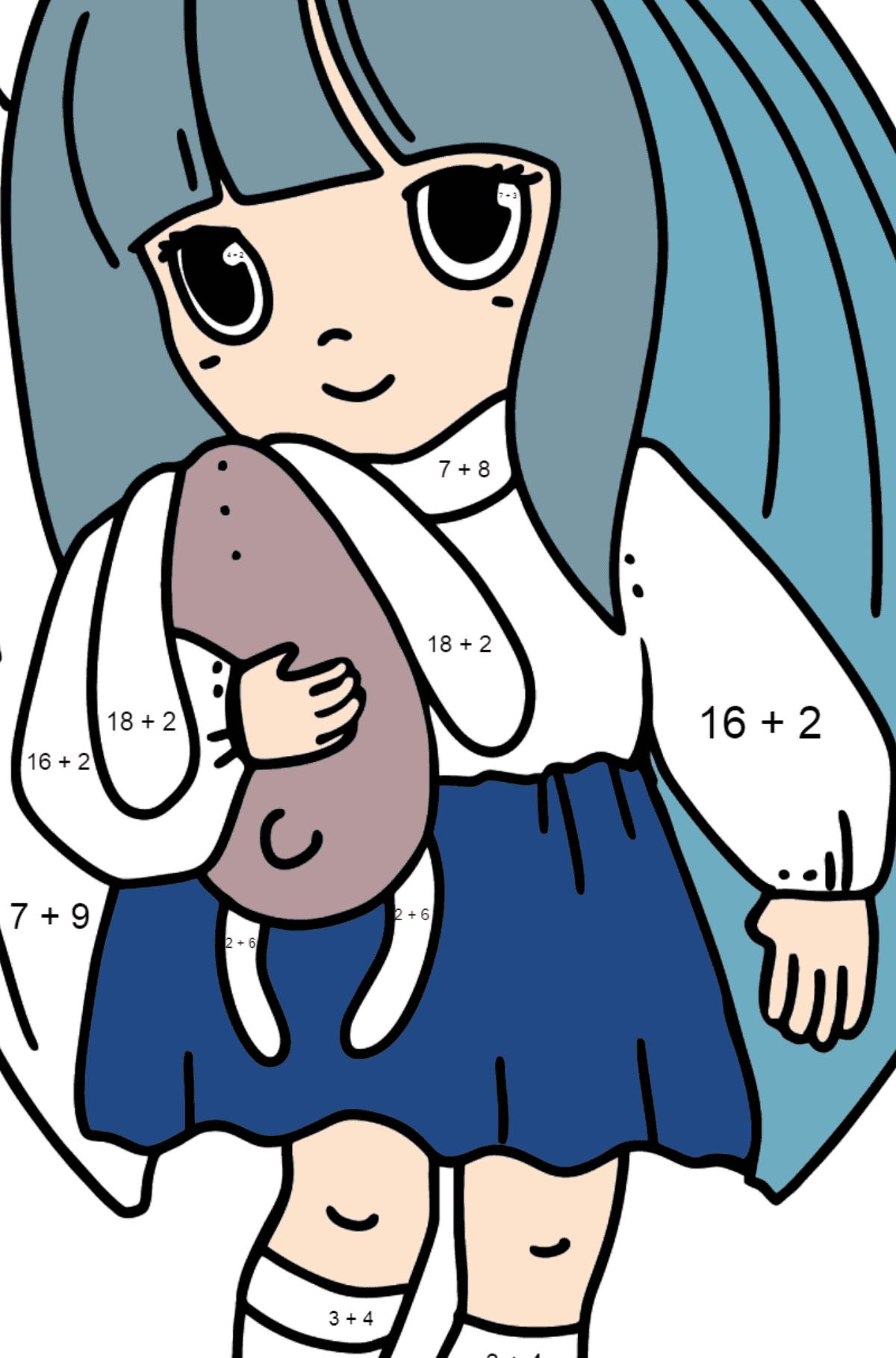 Раскраска Аниме Маленькая девочка - Математическая Раскраска - Сложение для Детей