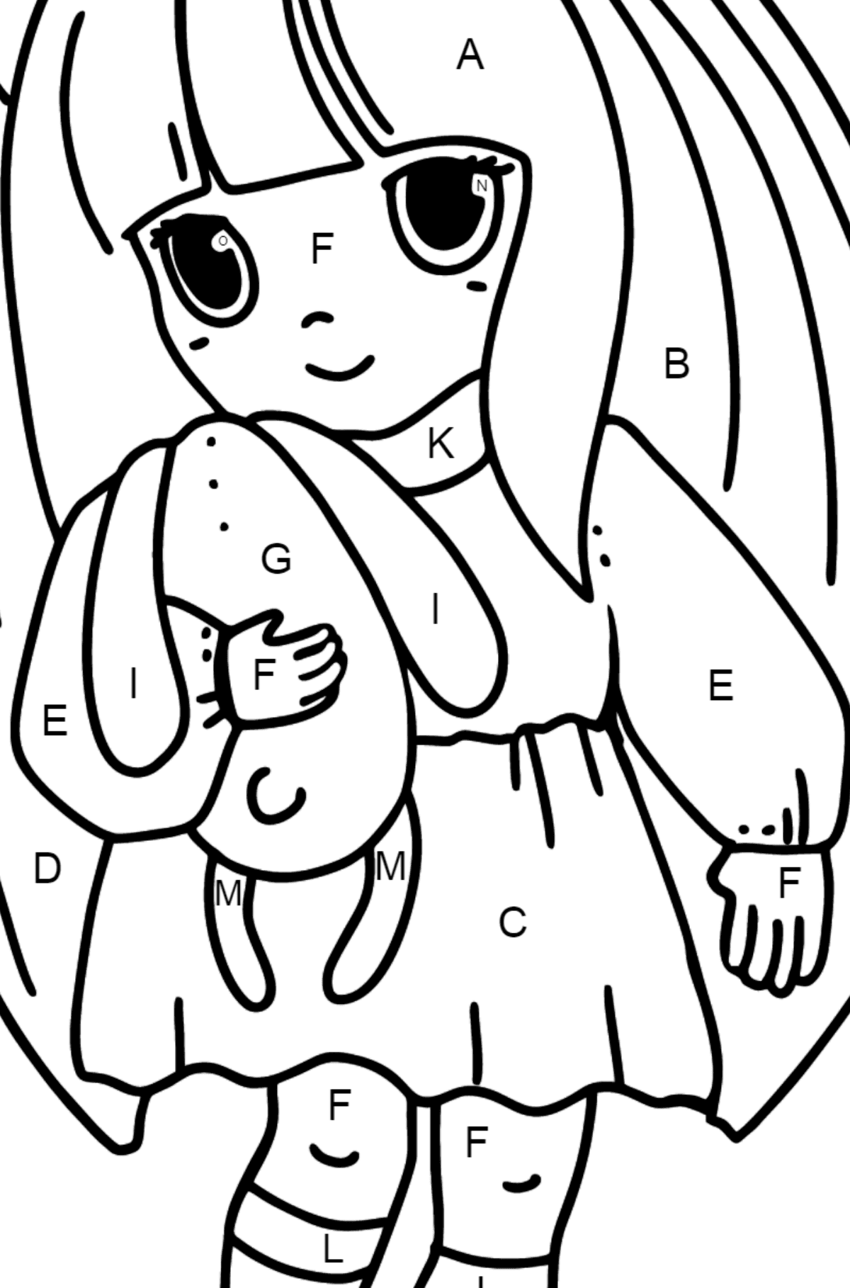 Anime Little Girl Coloring Pages - Coloring by Letters for Kids