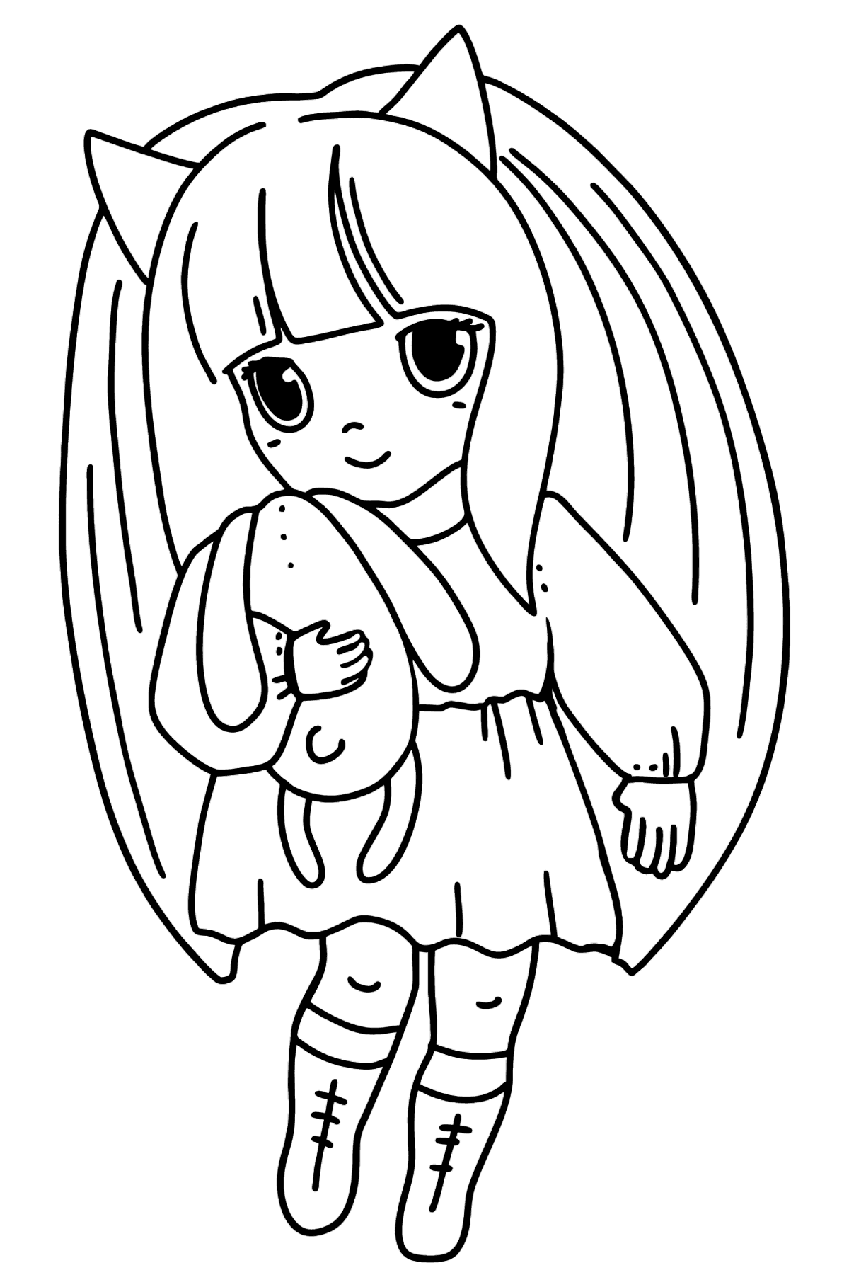 Раскраска Аниме Маленькая девочка - Картинки для Детей