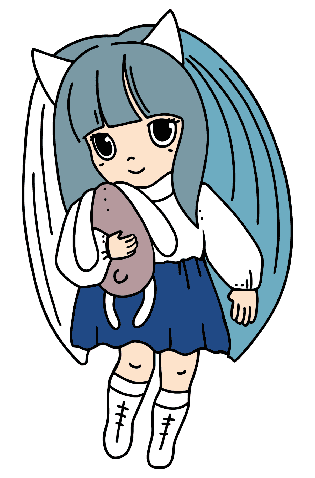 Anime Little Girl Coloring Pages - Coloring Pages for Kids