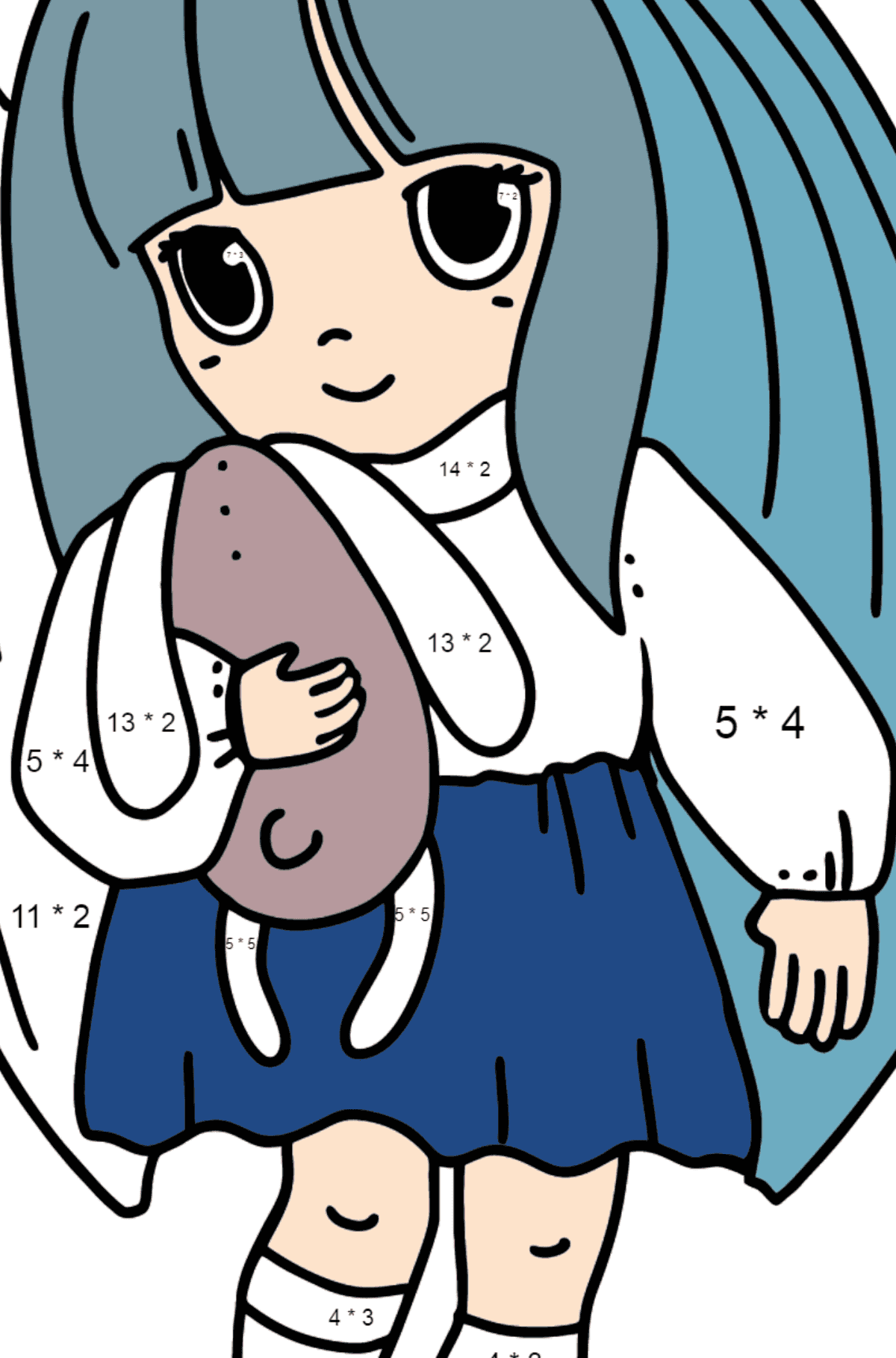 Anime Little Girl Coloring Pages - Math Coloring - Multiplication for Kids