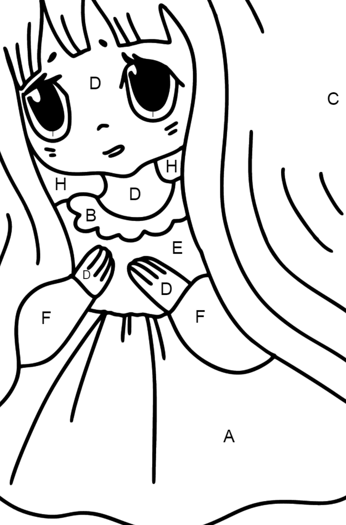 Anime Sad Girl Coloring Pages - Coloring by Letters for Kids