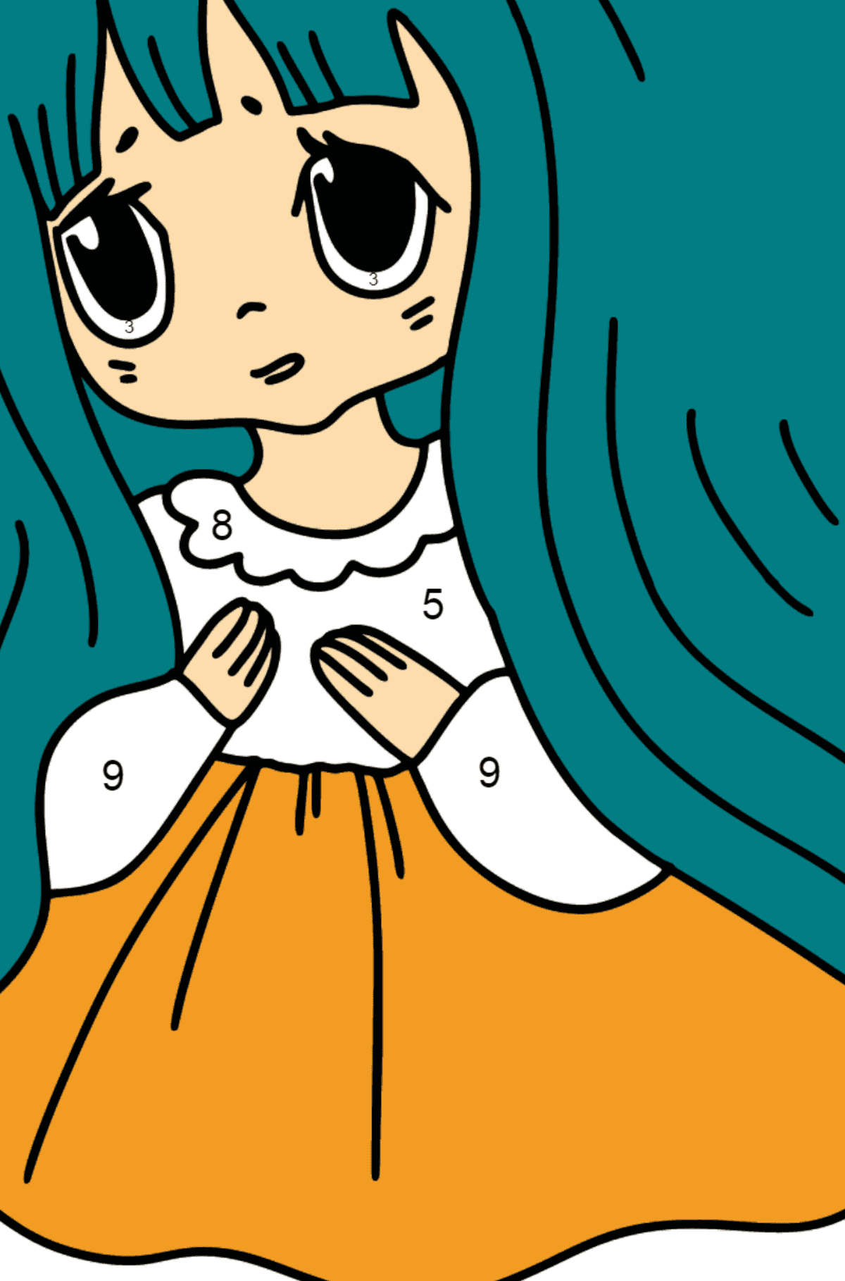 Anime Sad Girl Coloring Pages - Coloring by Numbers for Kids