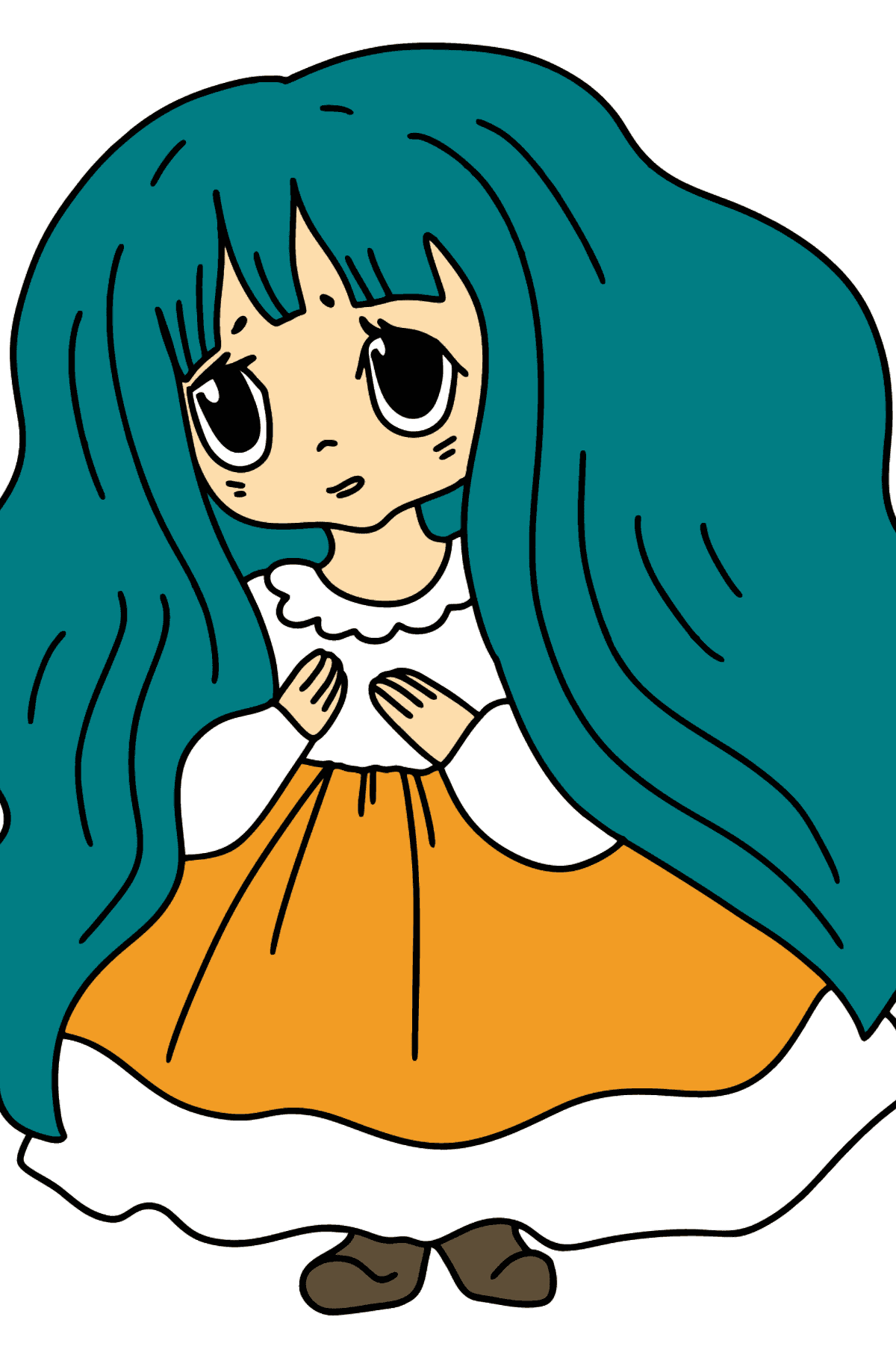 Anime Sad Girl Coloring Pages - Coloring Pages for Kids