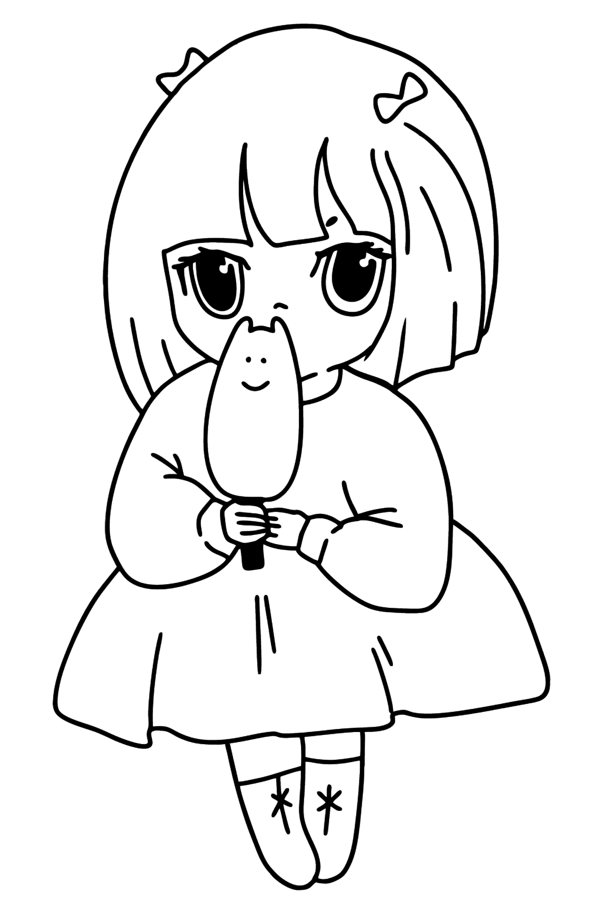Girl Anime with Ice Cream coloring page - Coloring Pages for Kids