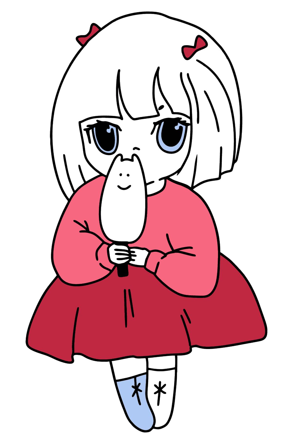 Anime Mädchen mit Eis Malvorlagen - Malvorlagen für Kinder