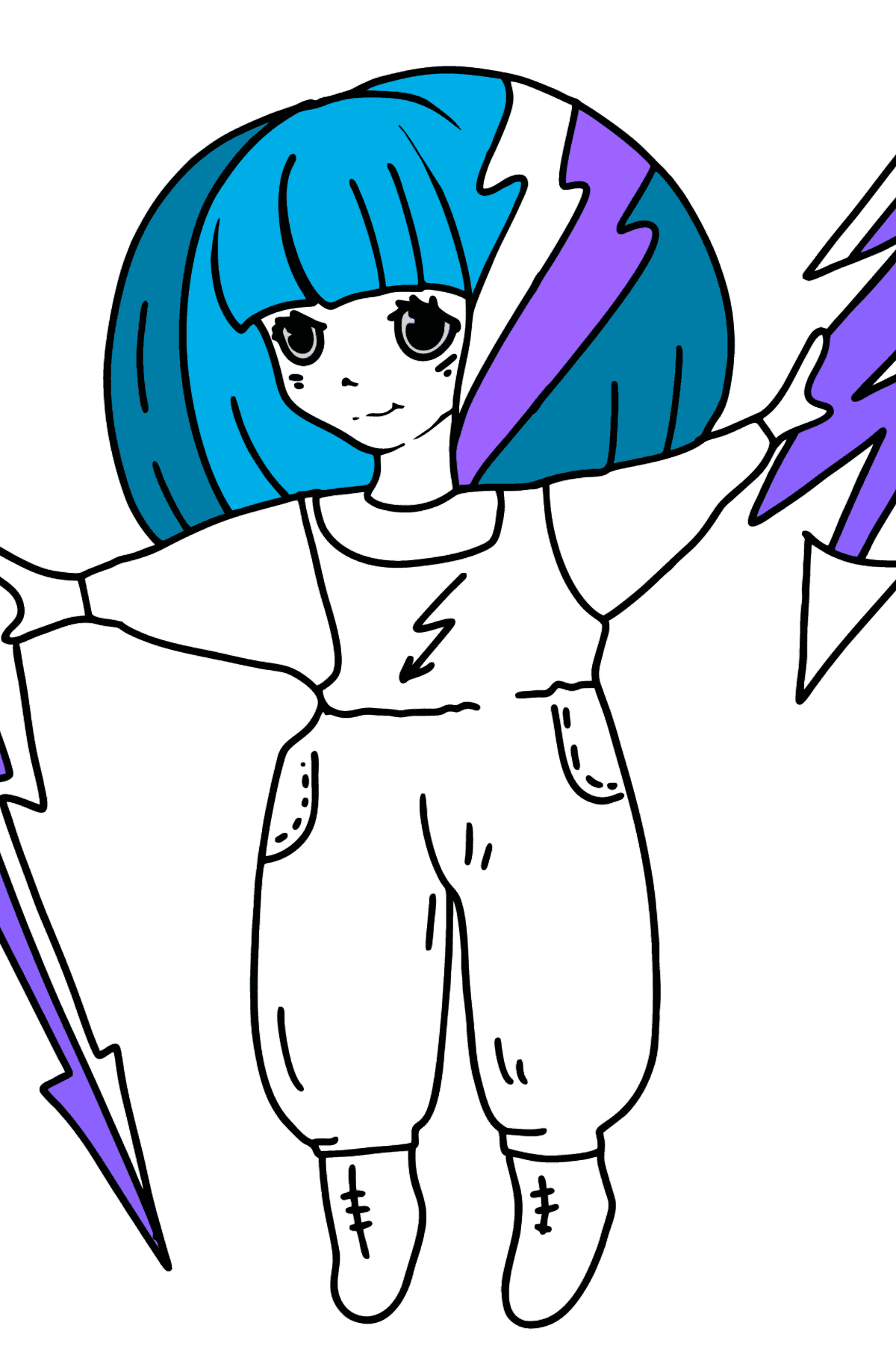 Thunder Anime Girl Coloring Pages - Coloring Pages for Kids