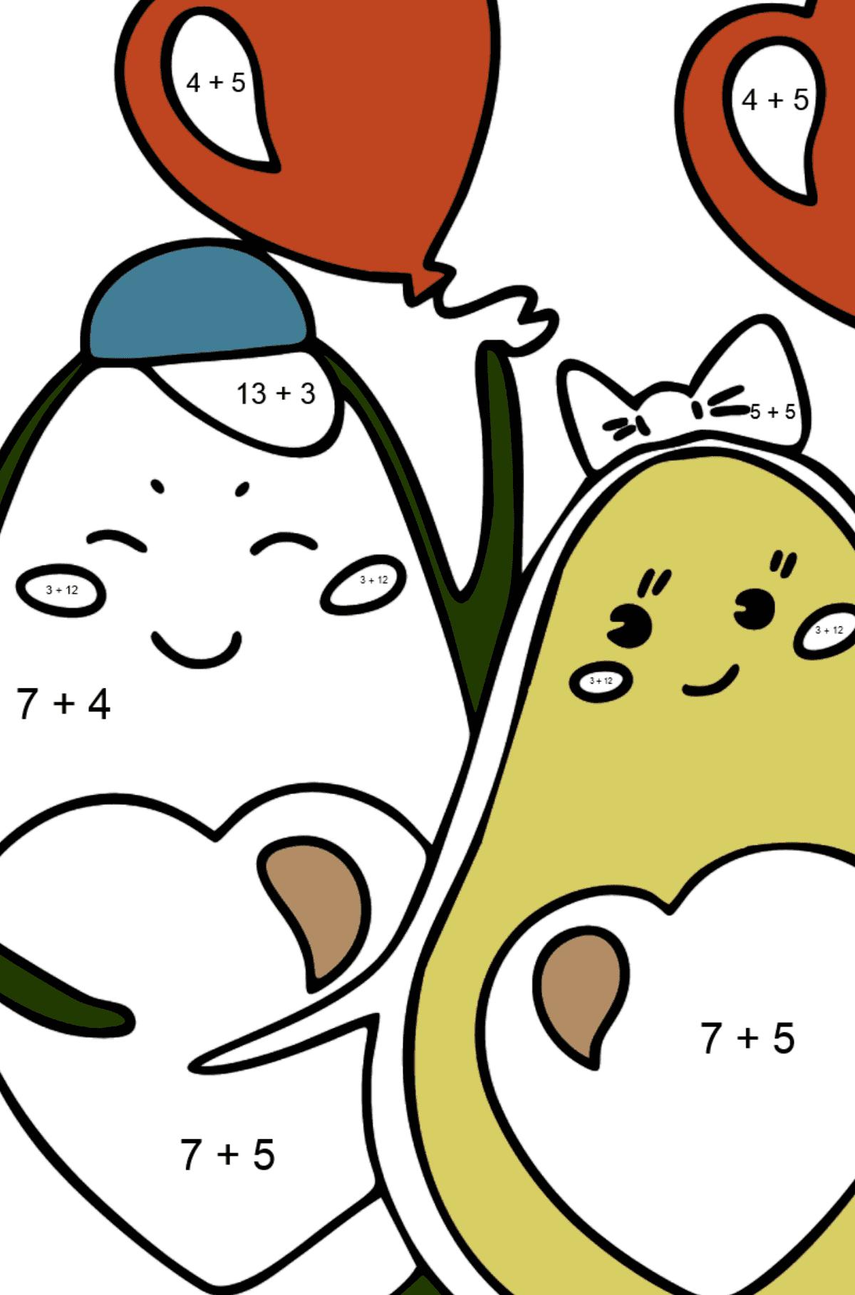Раскраска Влюбленные авокадо - Математическая Раскраска - Сложение для Детей
