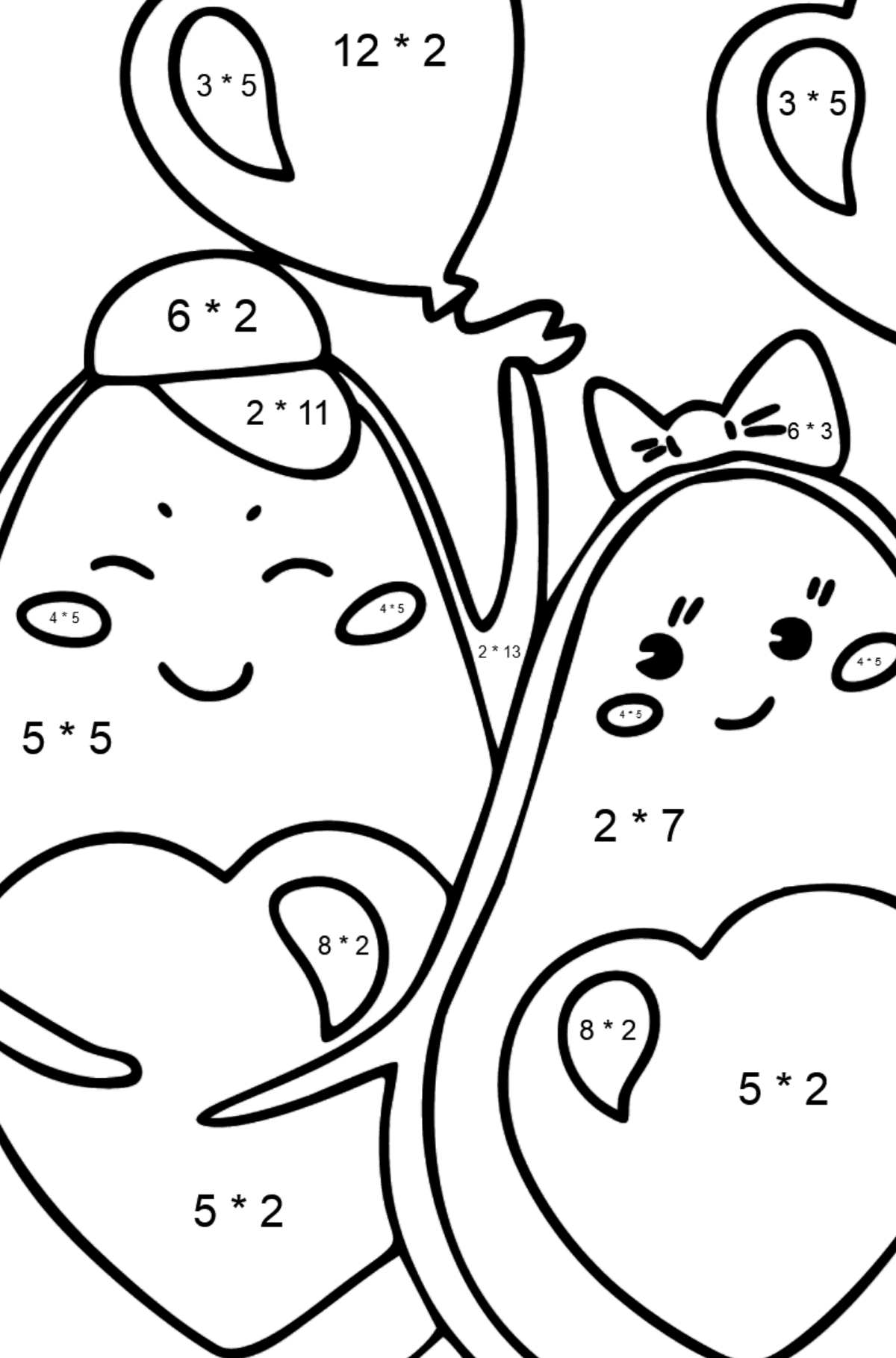 Avocado in Love coloring page - Math Coloring - Multiplication for Kids
