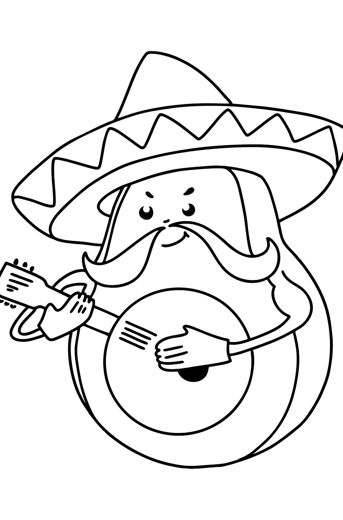 Раскраска Авокадо в сомбреро - Картинки для Детей