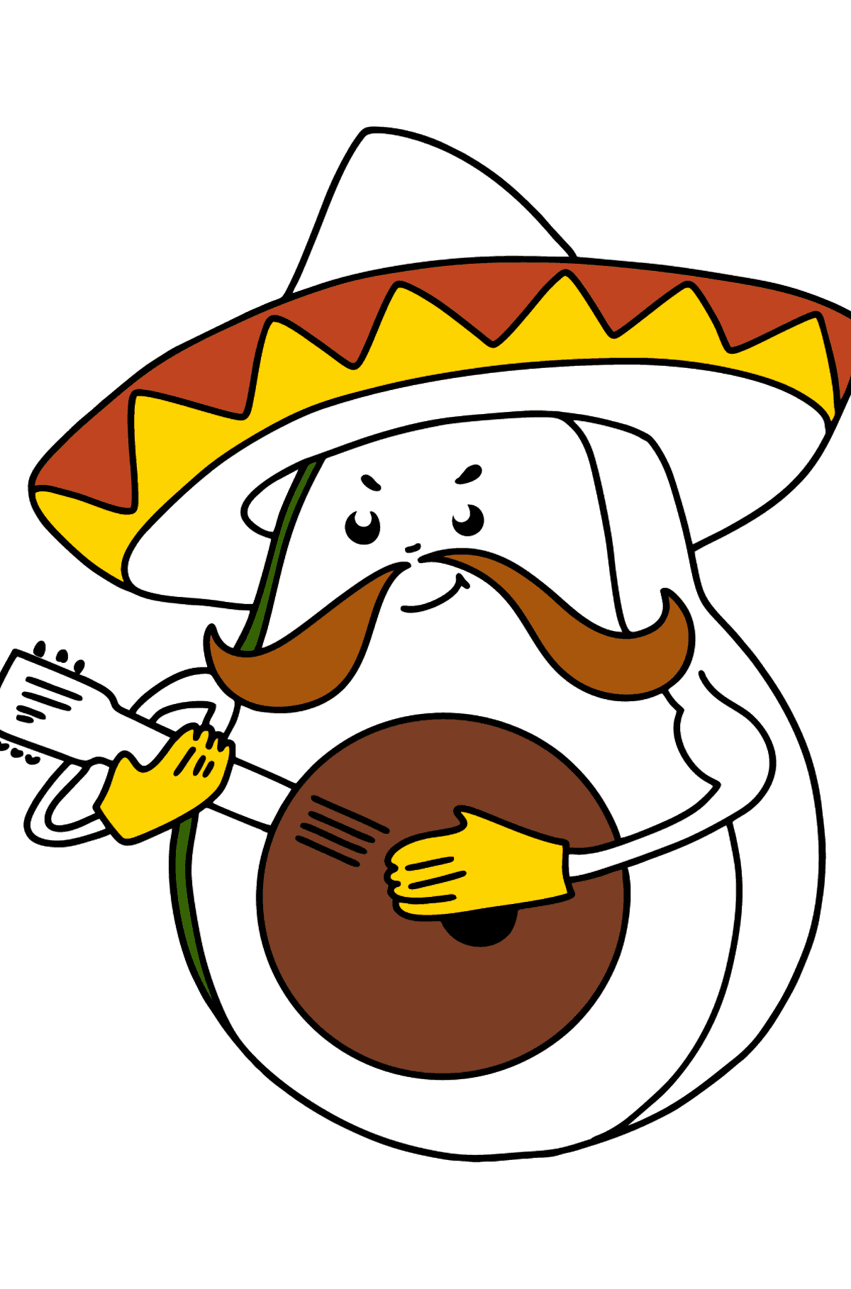 Avocado in Sombrerro coloring page - Coloring Pages for Kids