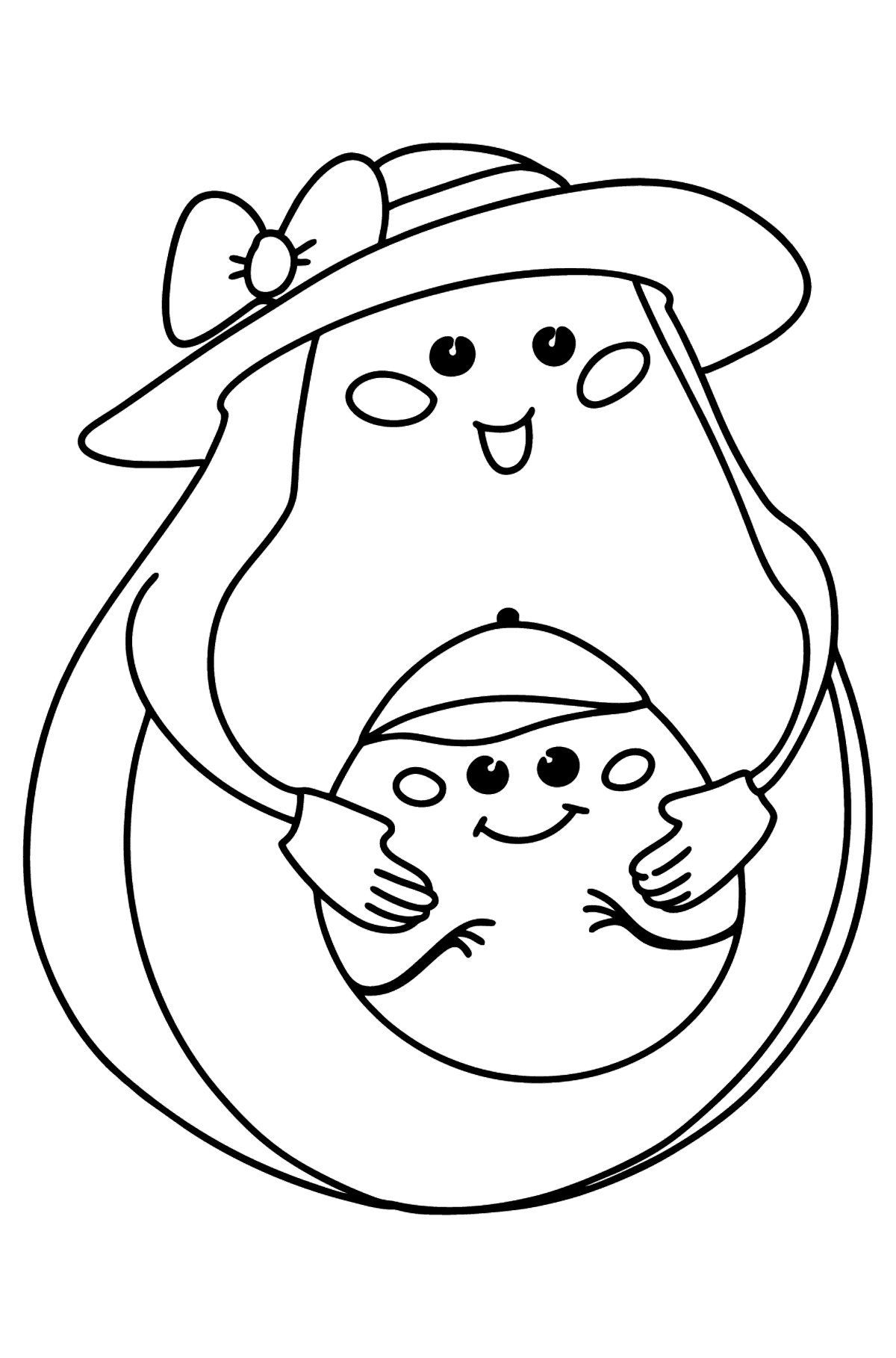 Avocado Mom with Baby coloring page - Coloring Pages for Kids
