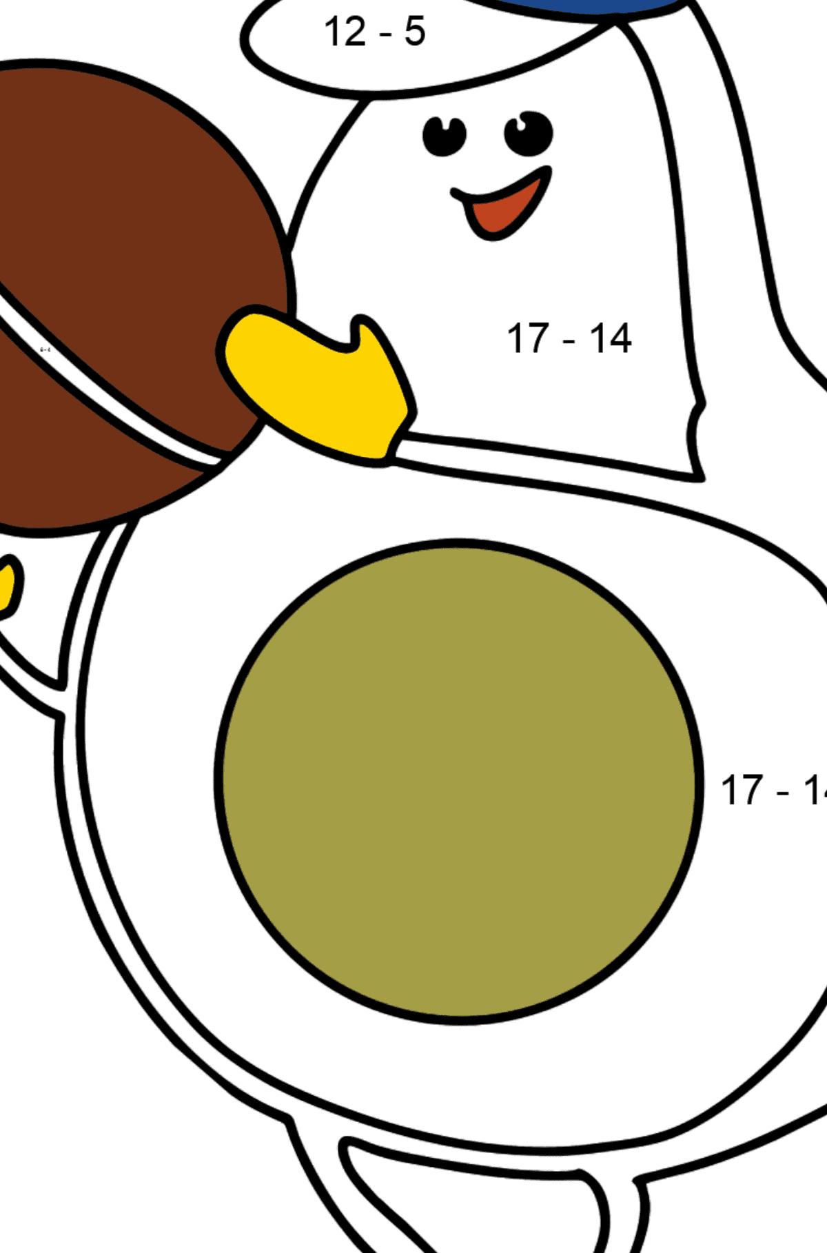Раскраска Авокадо играет в футбол - Математическая Раскраска - Вычитание для Детей