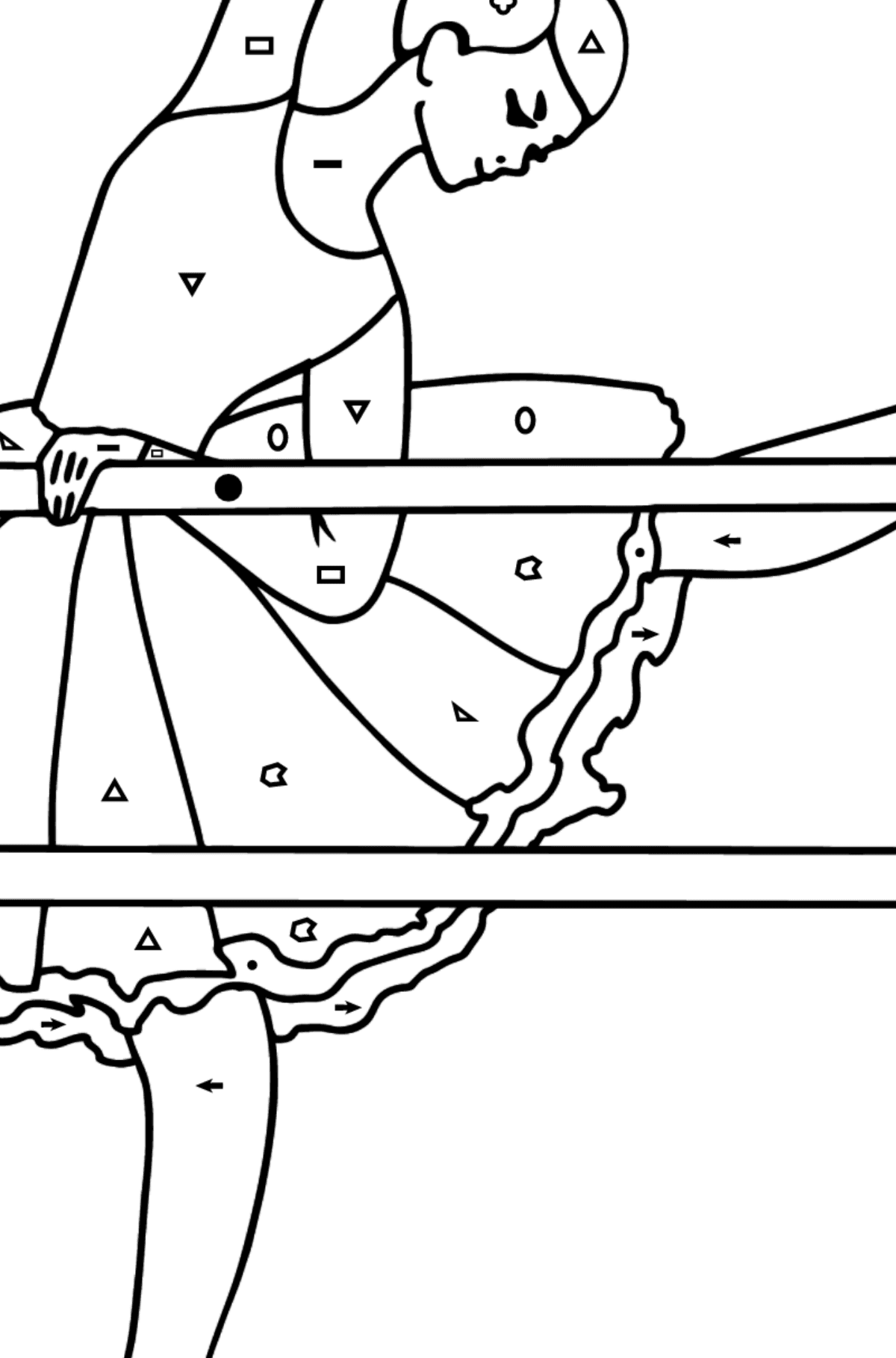 Coloring page - ballerina at the rehearsal - Coloring by Symbols and Geometric Shapes for Kids