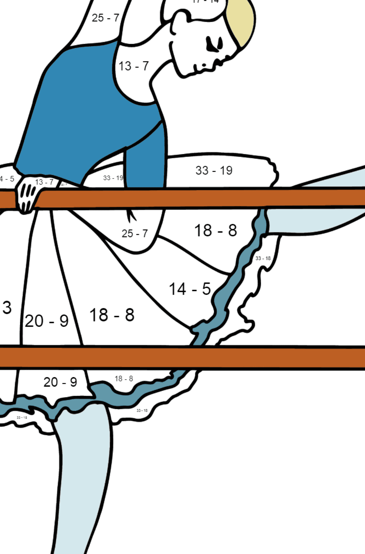 Coloring page - ballerina at the rehearsal - Math Coloring - Subtraction for Kids