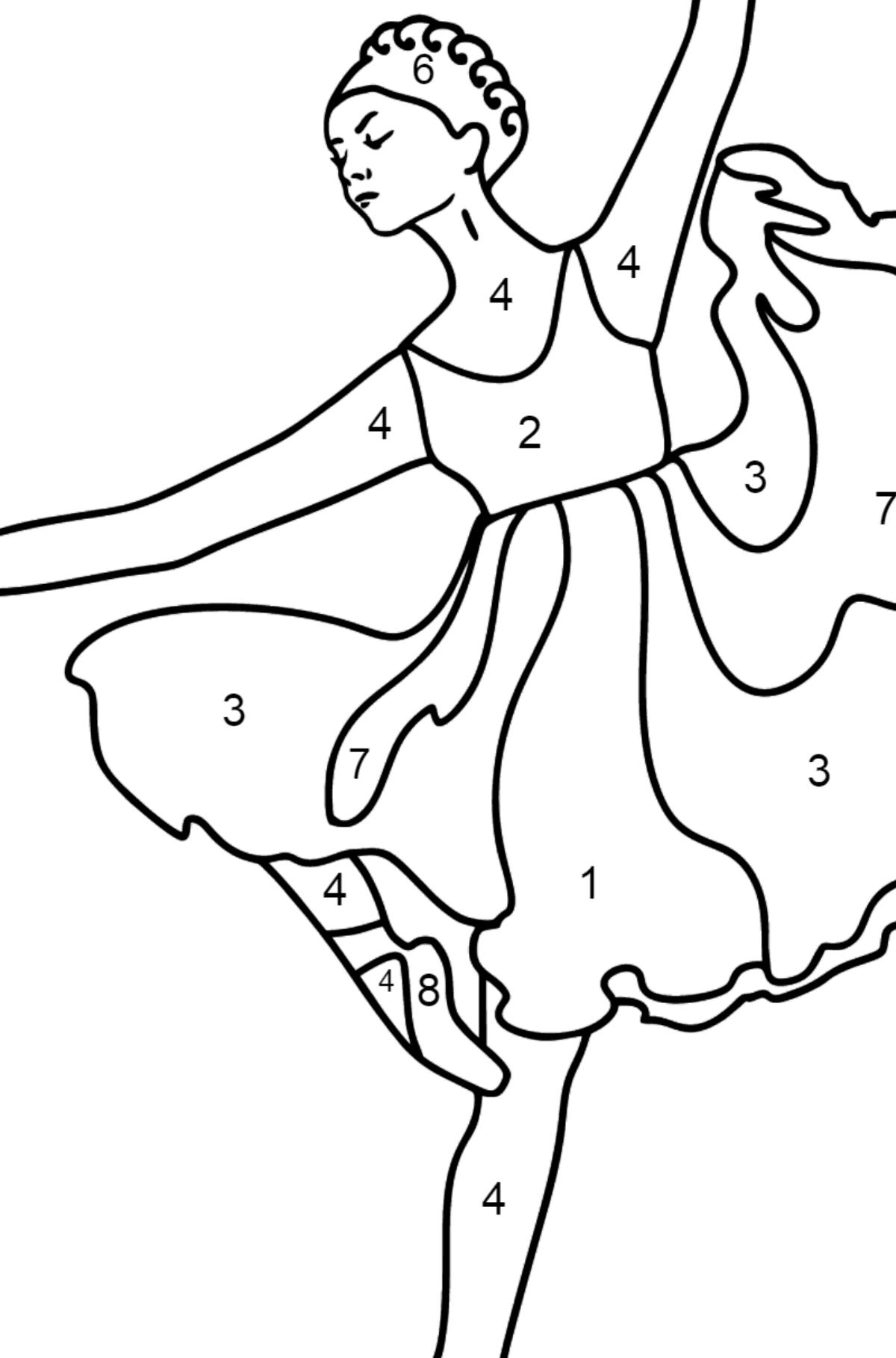 Ausmalbildn - Ballerina in einem lila Kleid - Malen nach Zahlen für Kinder