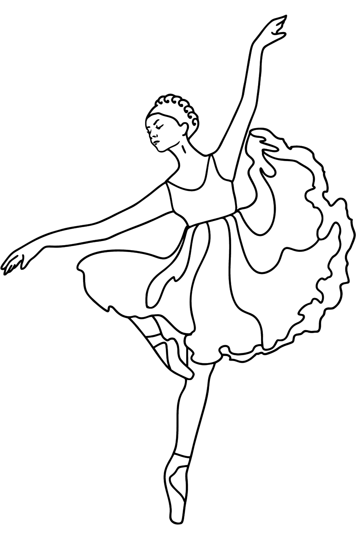 Ballerina in Lilac Dress coloring page - Coloring Pages for Kids