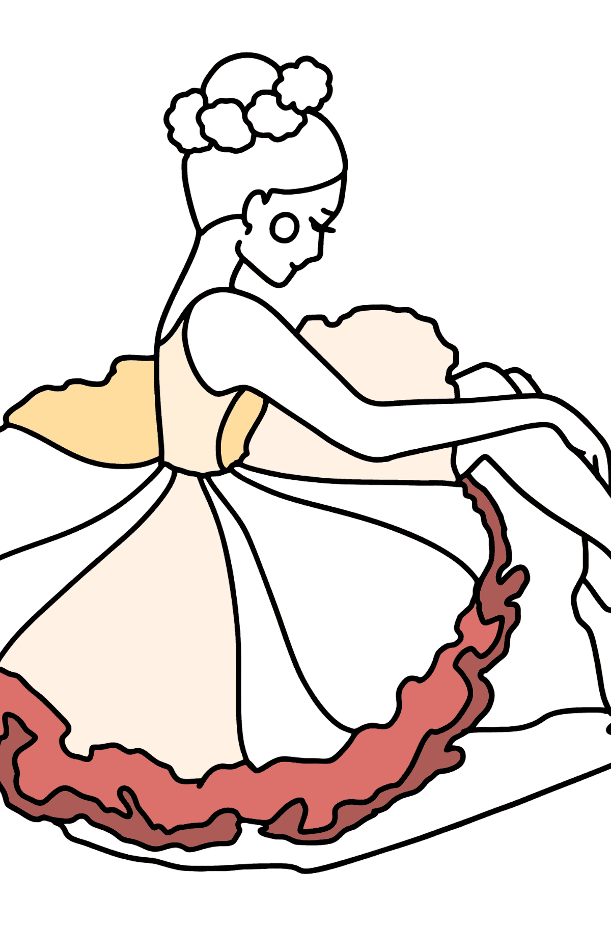 Ballerina in a Lush Dress coloring page - Coloring Pages for Kids