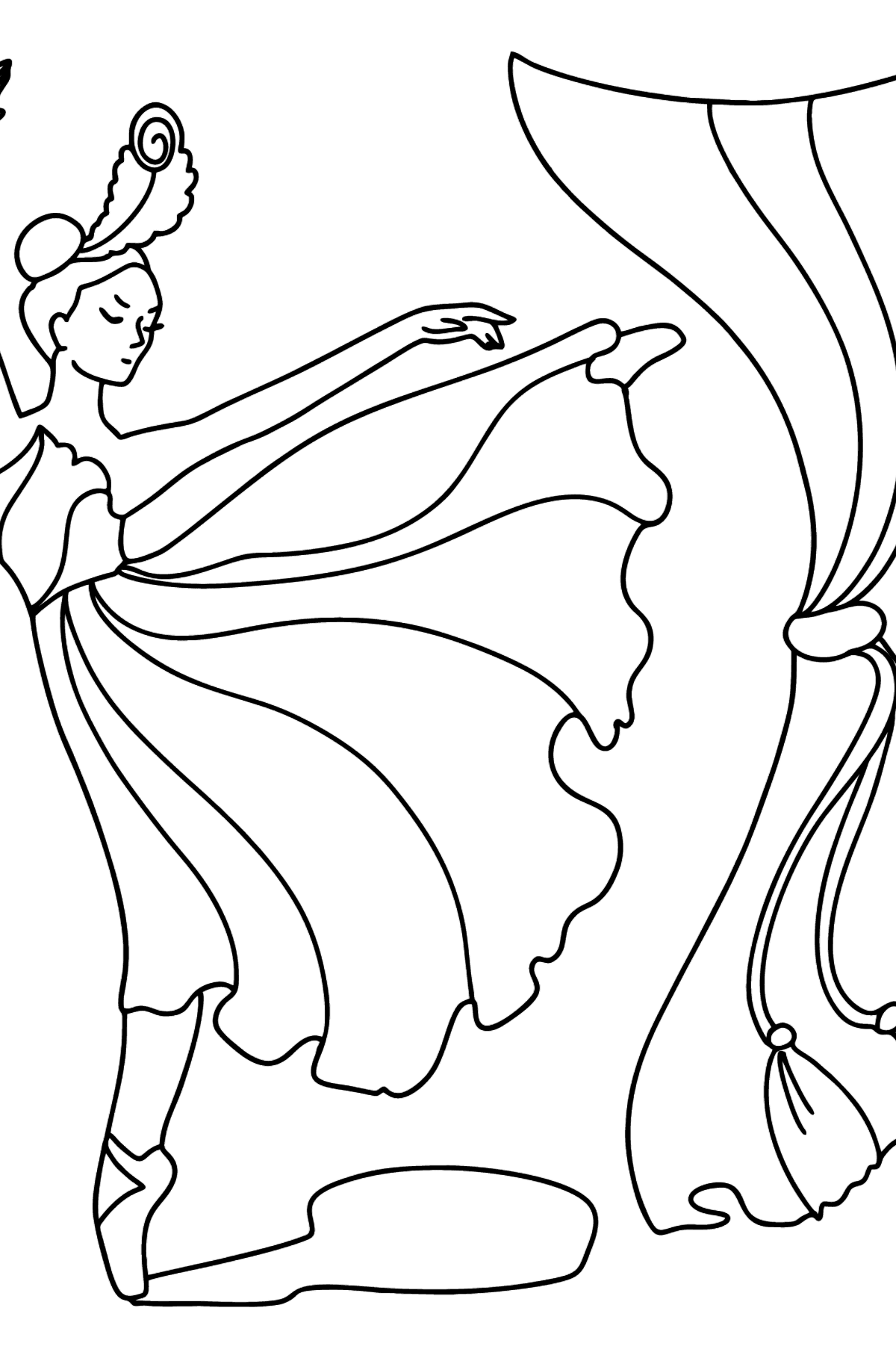 Ballerina in Red Dress coloring page - Coloring Pages for Kids