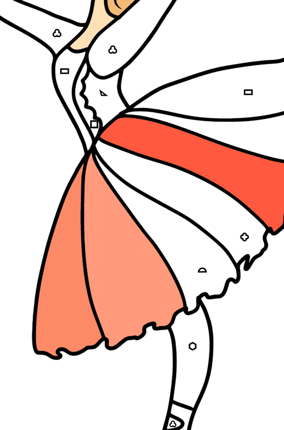 Beautiful ballerina coloring page - Coloring by Geometric Shapes for Kids
