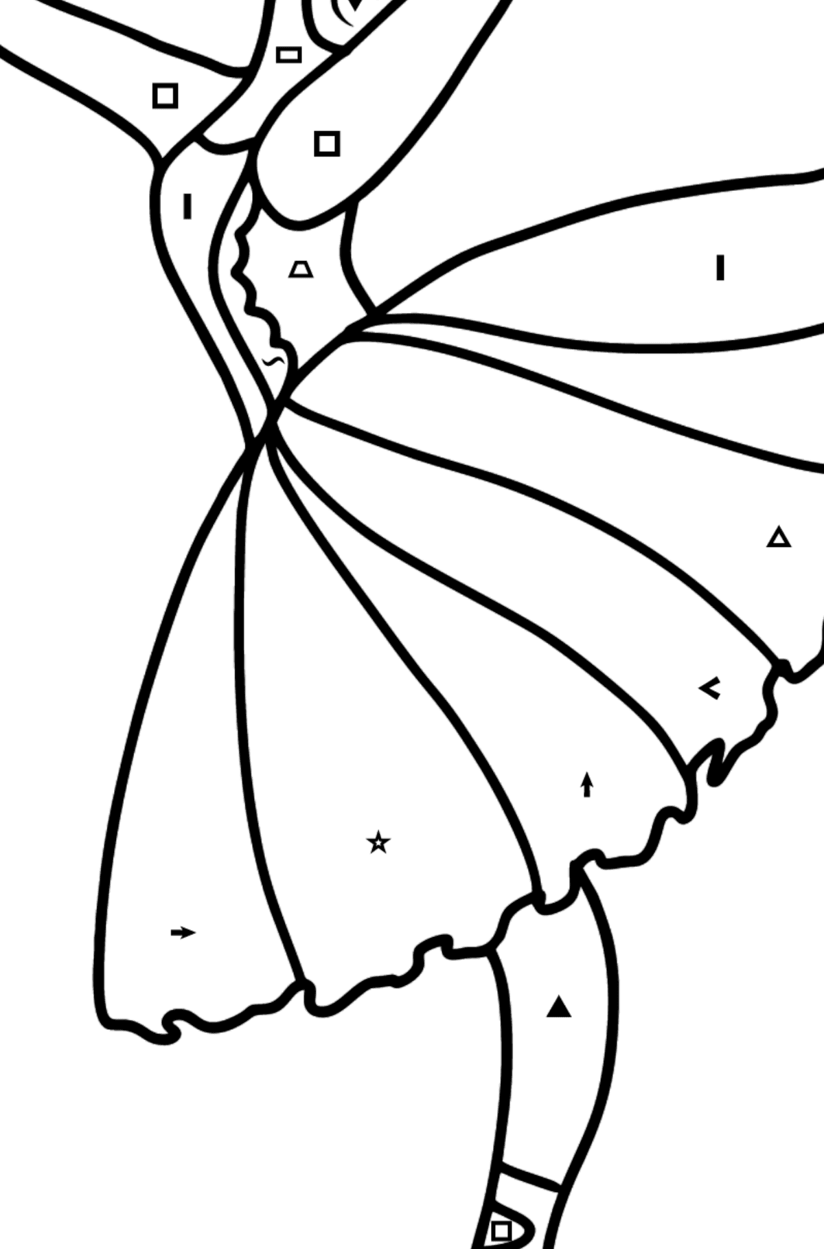 Beautiful ballerina coloring page - Coloring by Symbols and Geometric Shapes for Kids