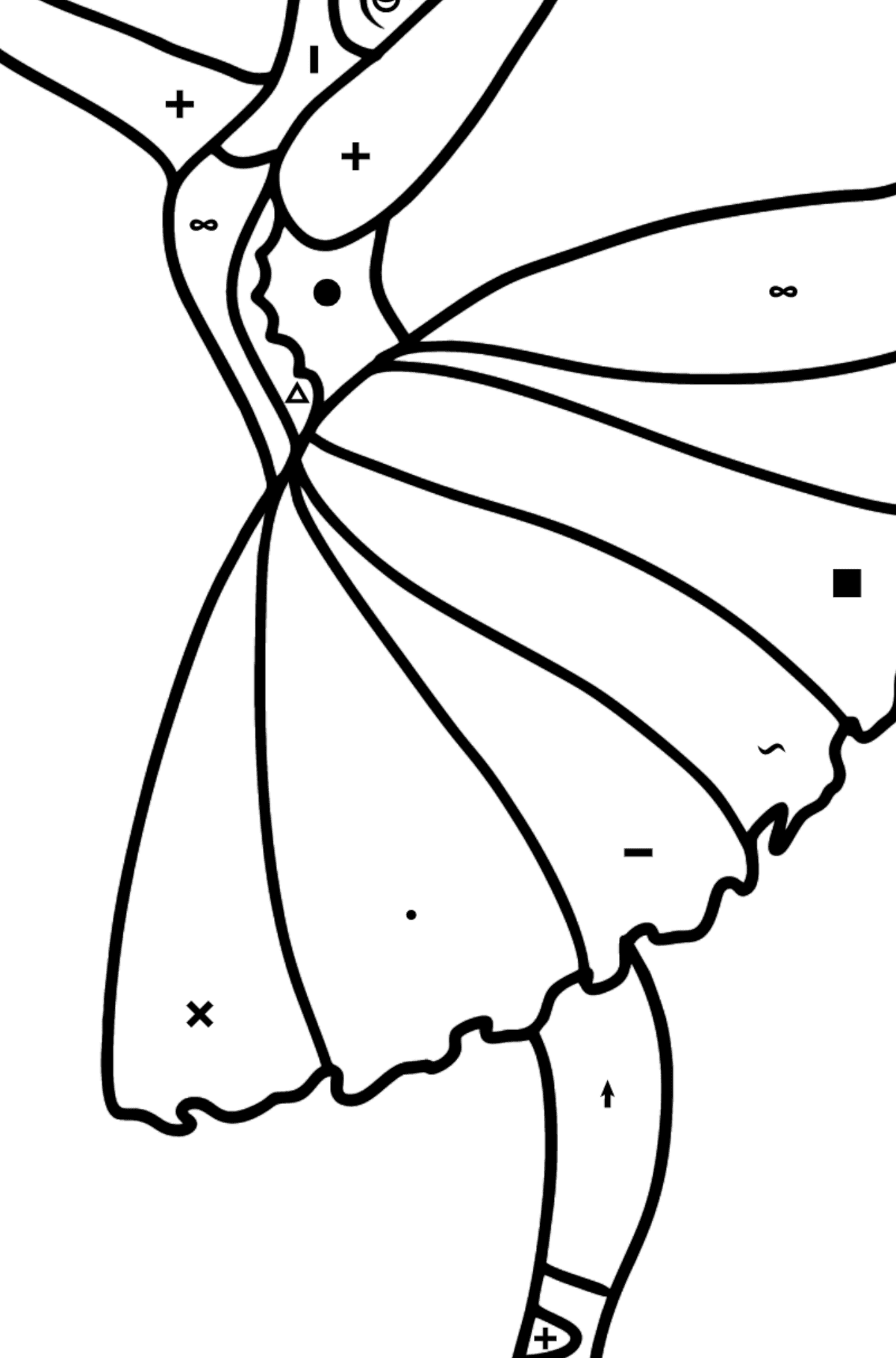 Beautiful ballerina coloring page - Coloring by Symbols for Kids
